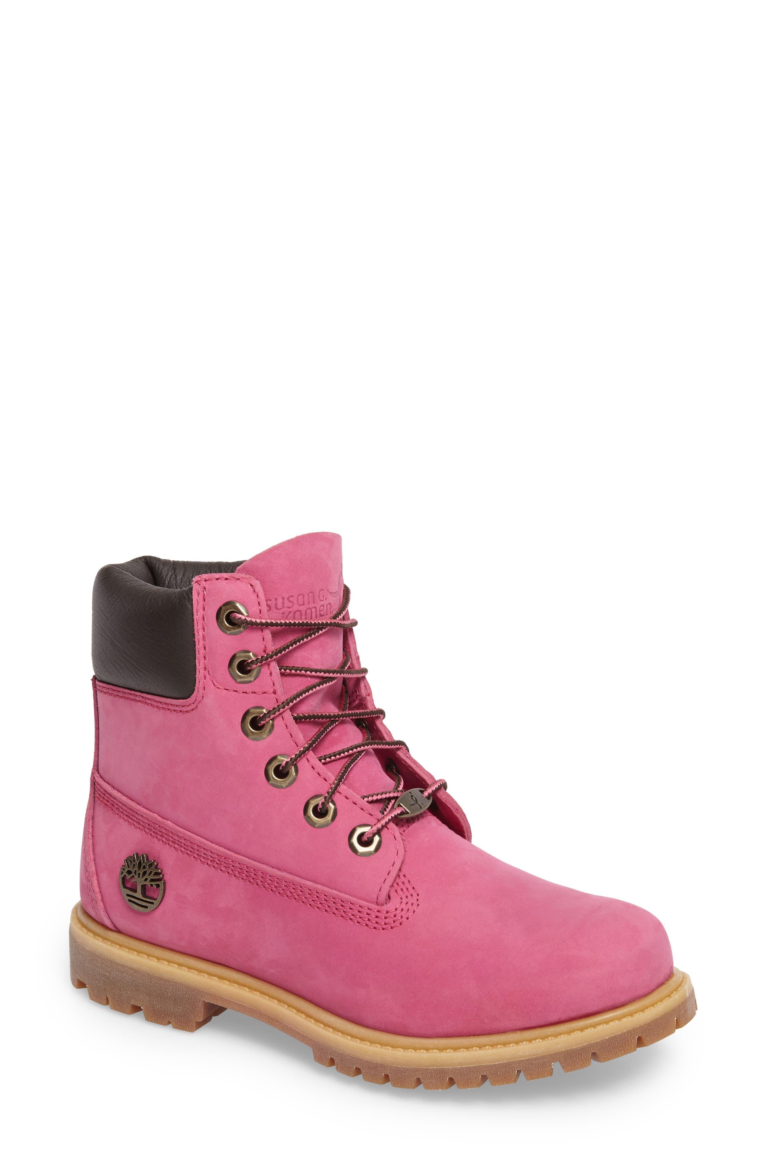 x Susan G. Komen 6-Inch Waterproof Insulated Boot,                             Main thumbnail 1, color,                             Bright Pink Nubuck