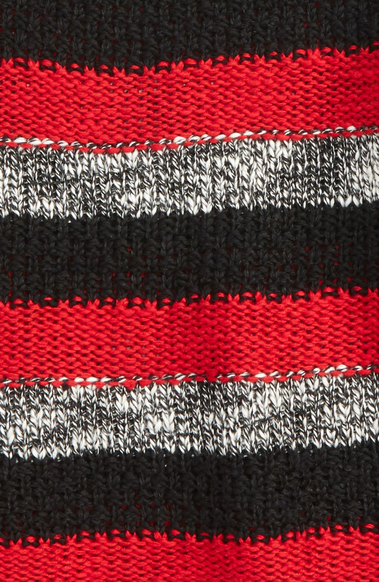 Roman Stripe Crewneck Sweater,                             Alternate thumbnail 2, color,                             Black