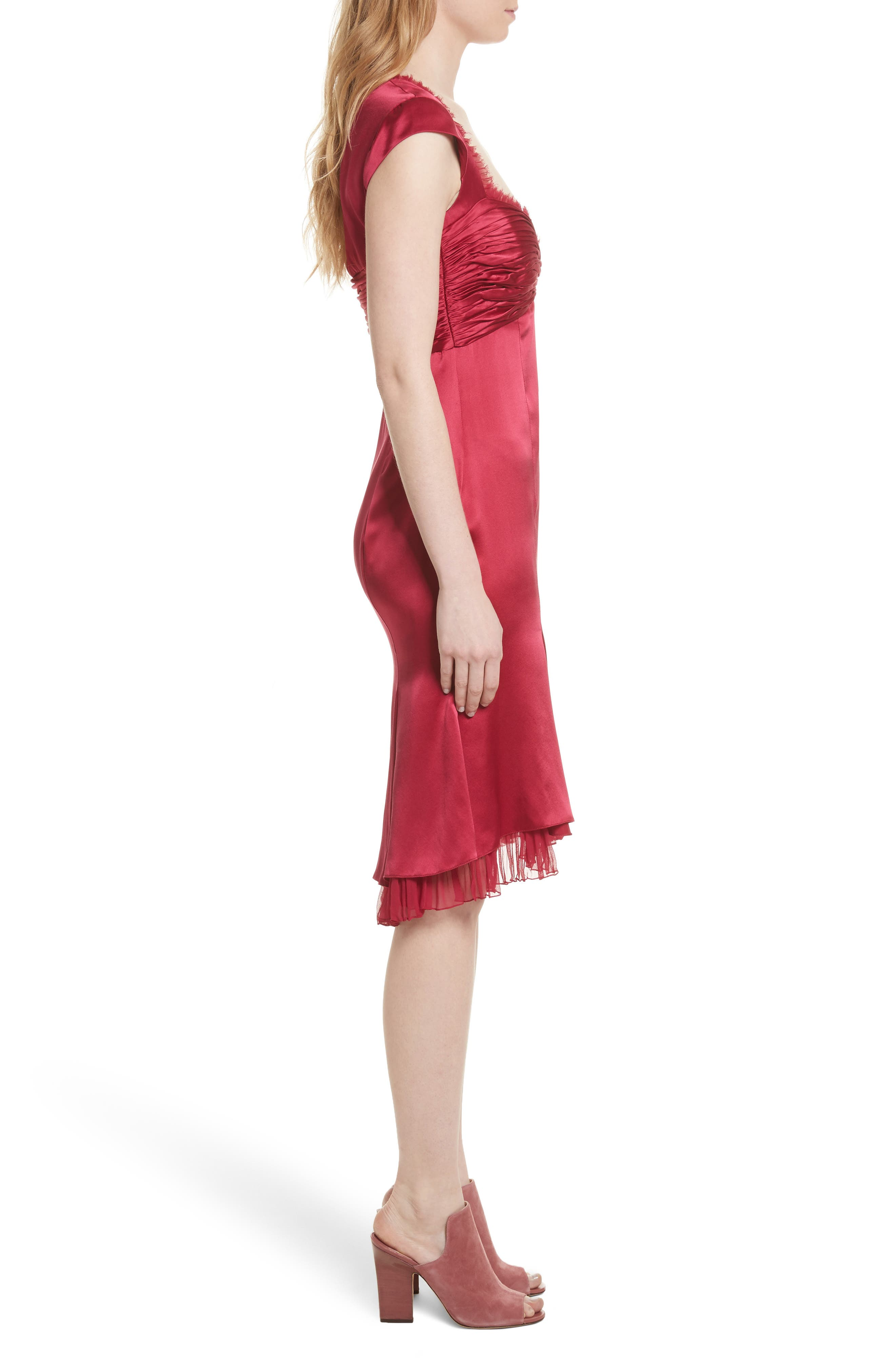 Marnie Satin Dress,                             Alternate thumbnail 3, color,                             Cerise