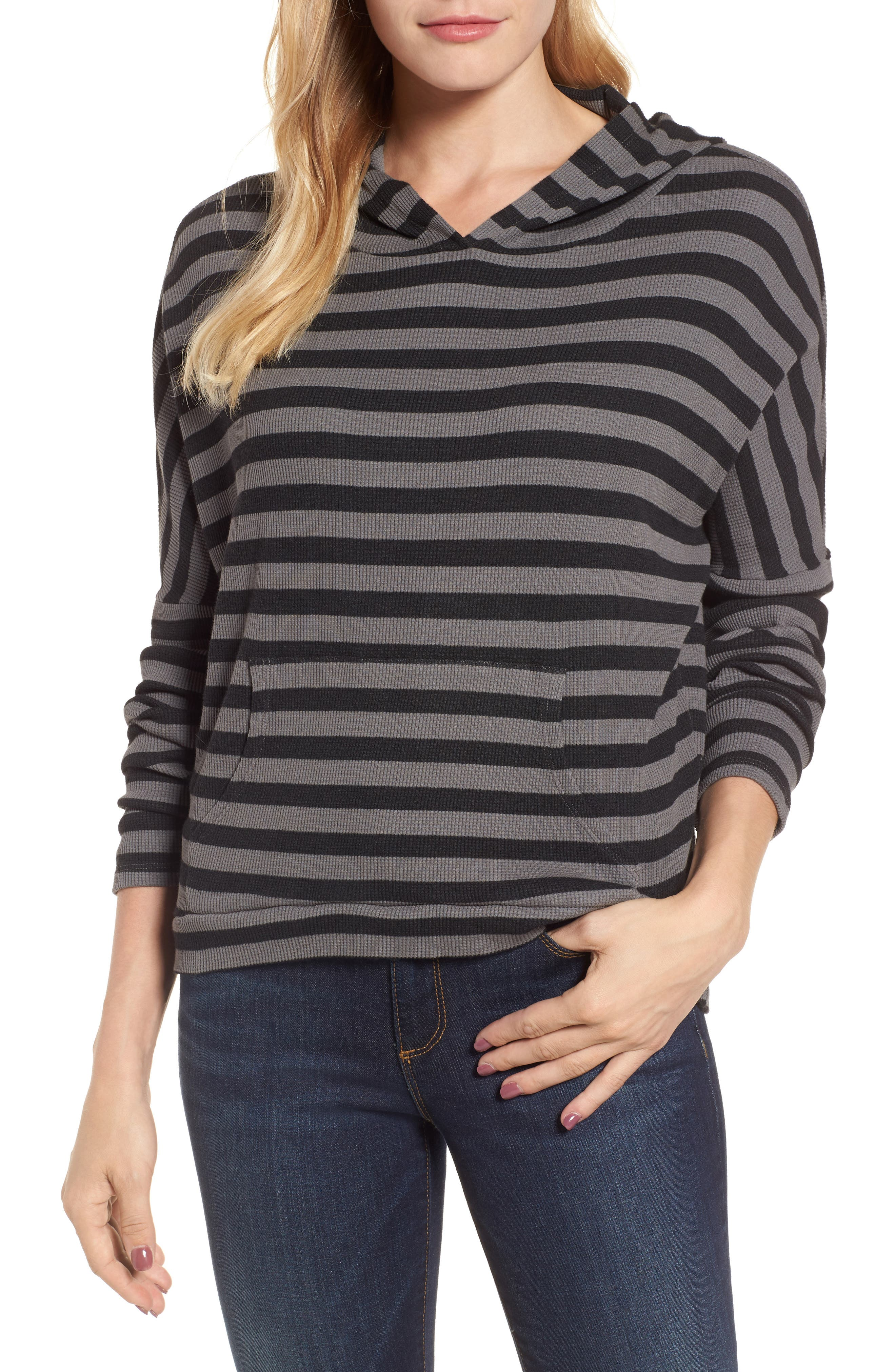 Stripe Thermal Hoodie,                             Main thumbnail 1, color,                             Charcoal