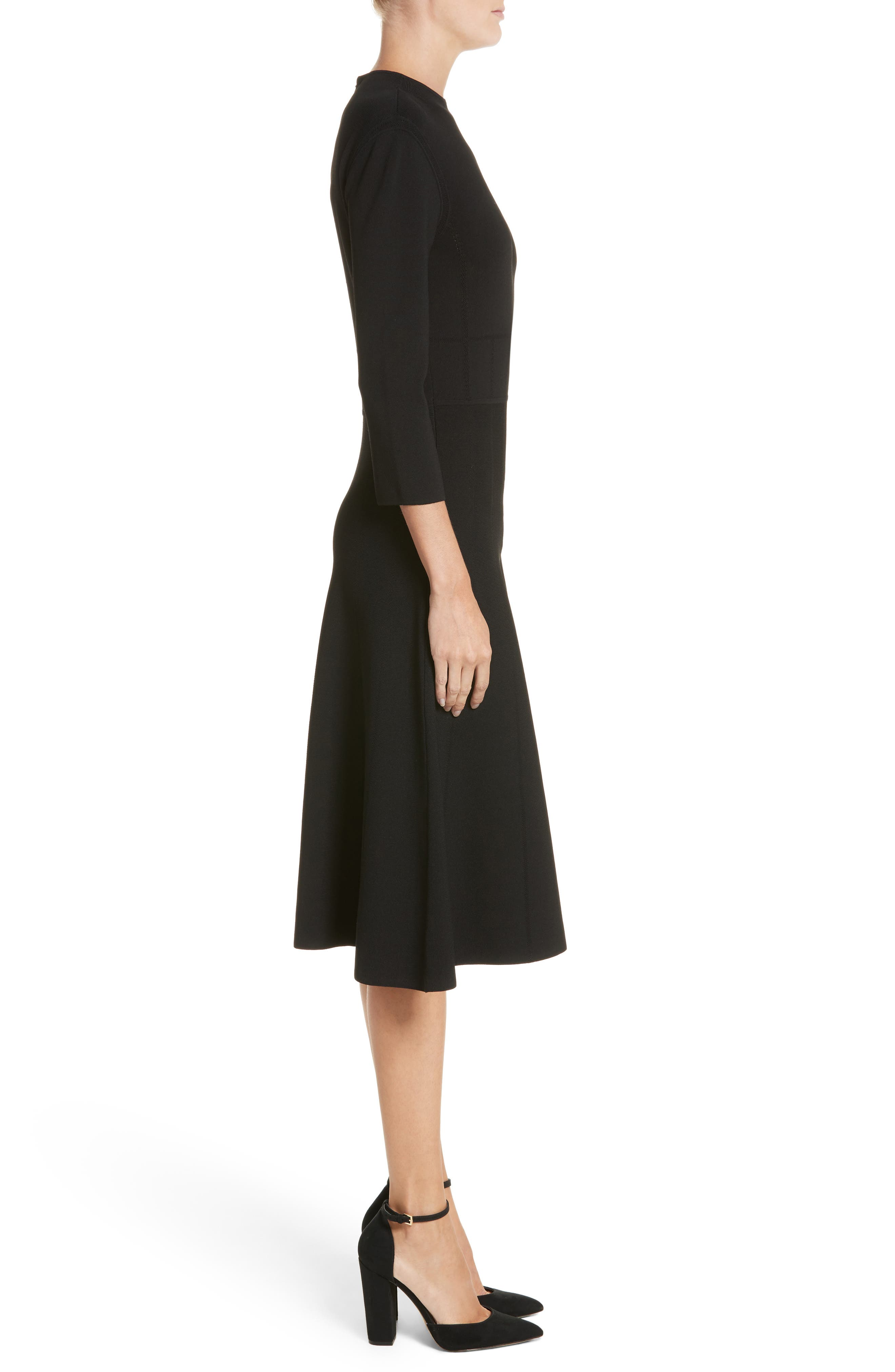 High Neck Fit & Flare Dress,                             Alternate thumbnail 3, color,                             Black