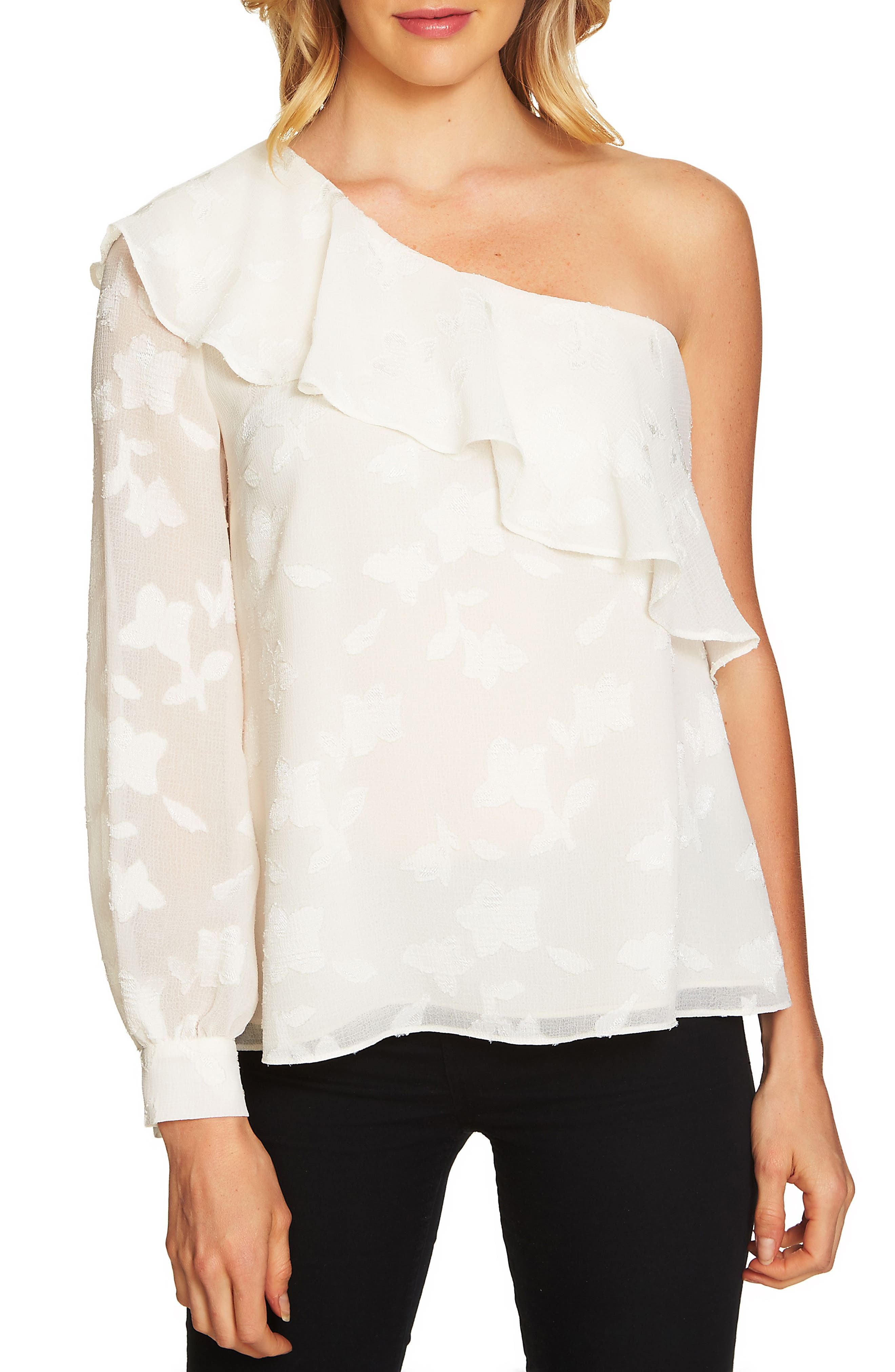 Ruffled One-Shoulder Top,                         Main,                         color, Antique White