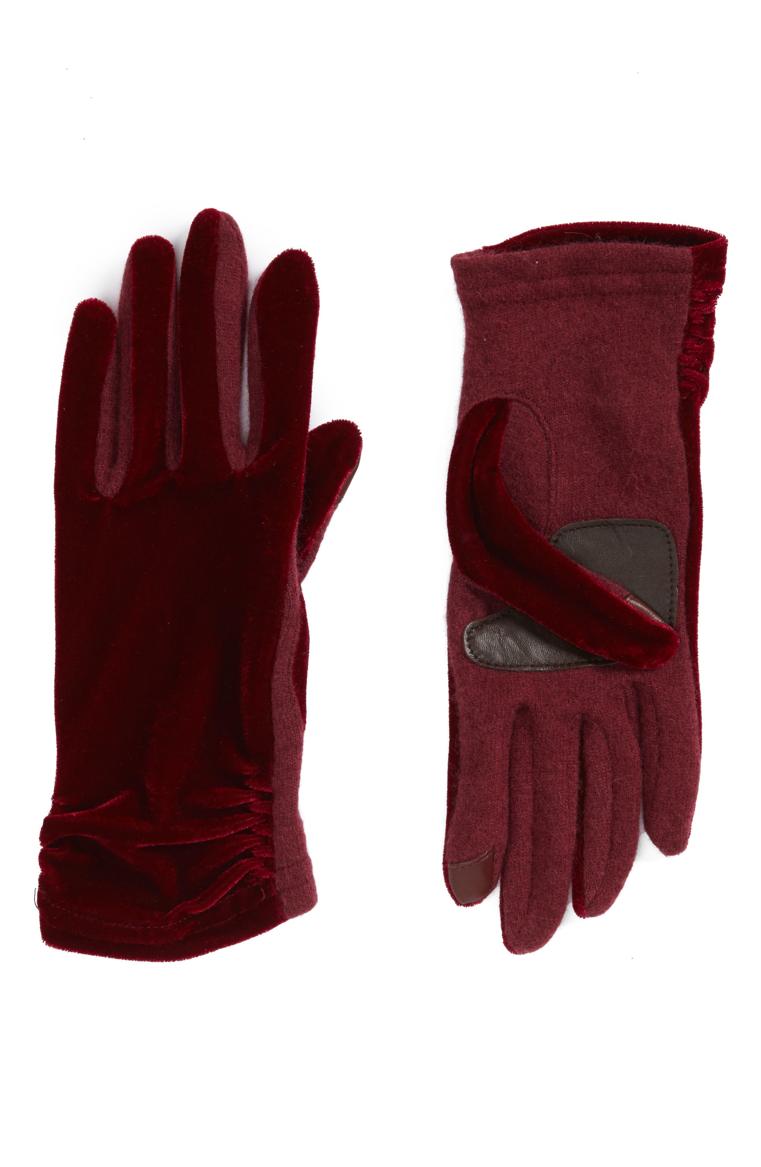 Classic Velvet Tech Gloves,                         Main,                         color, Port