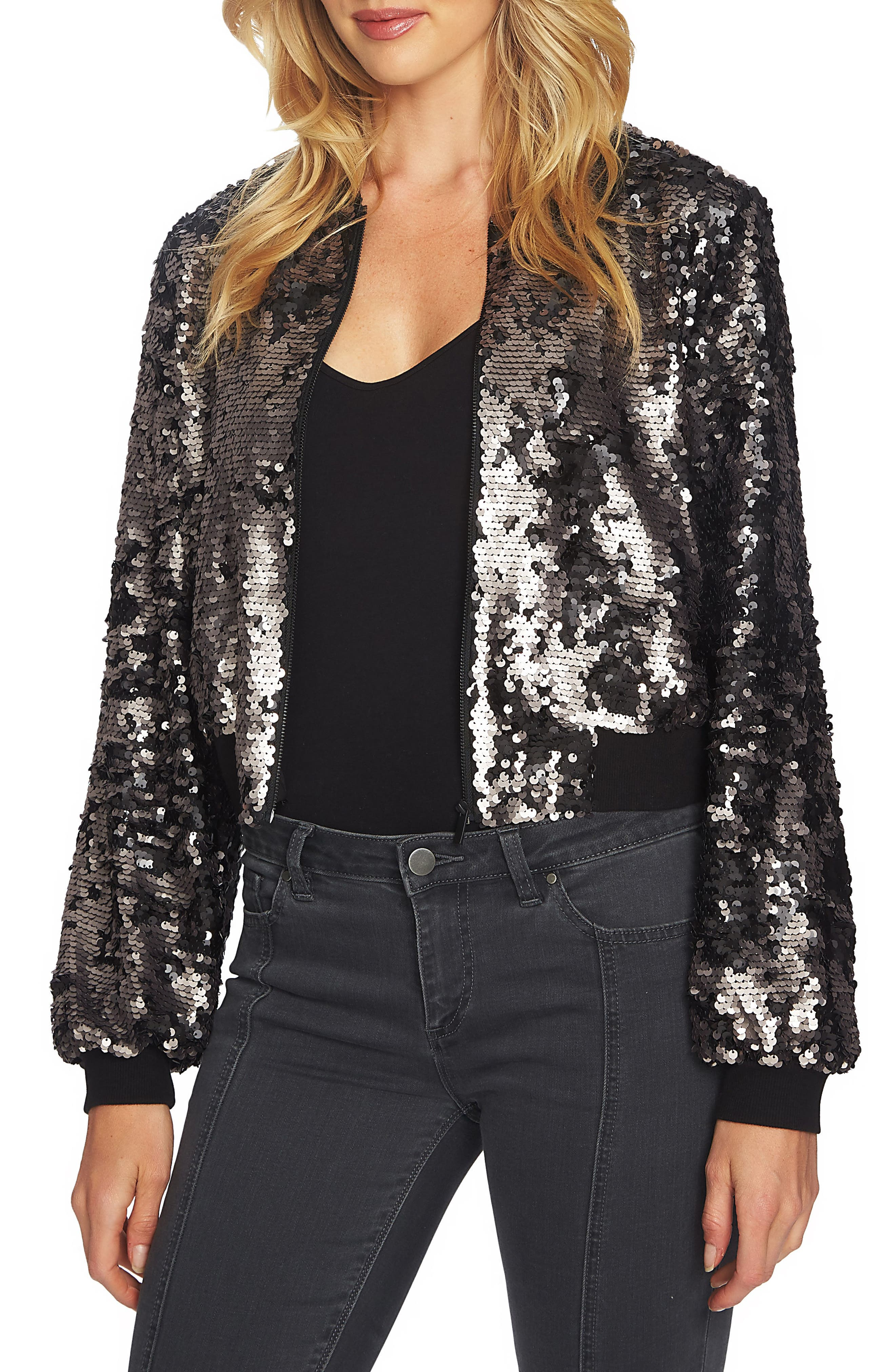 1.STATE Sequin Crop Bomber Jacket