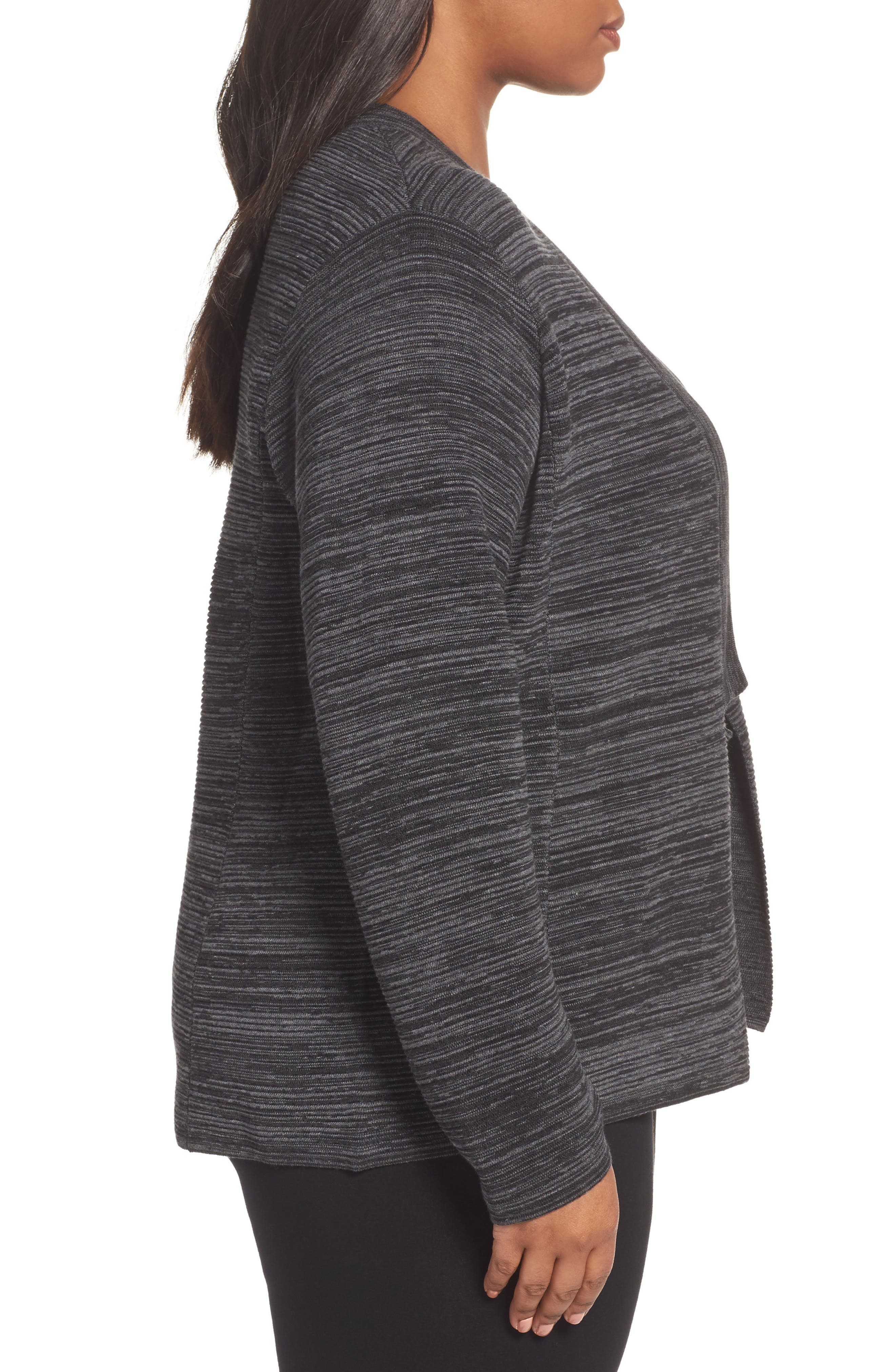 Tencel<sup>®</sup> & Organic Cotton Cardigan,                             Alternate thumbnail 3, color,                             Black
