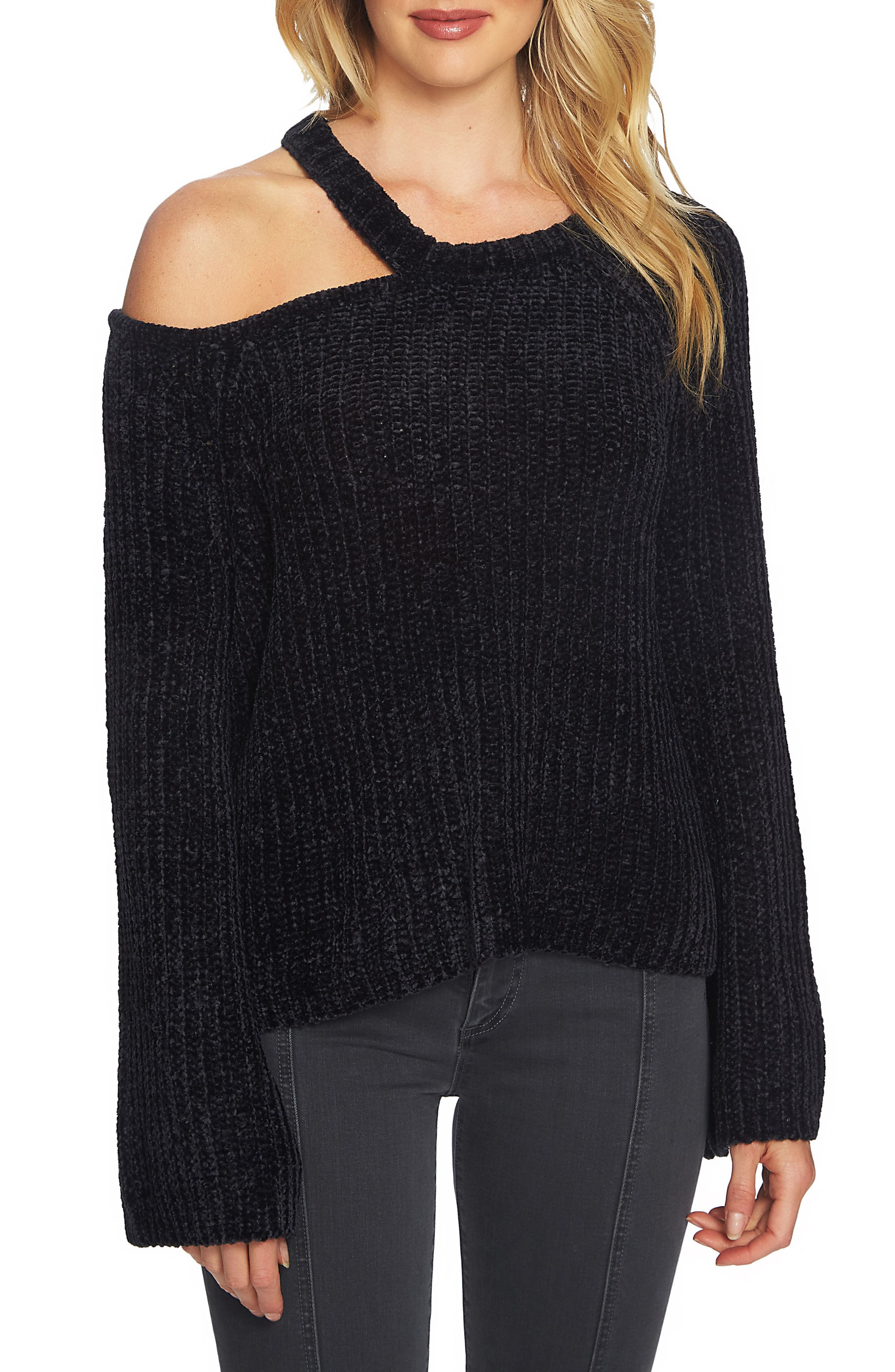 Main Image - 1.STATE Split Neck Chenille Sweater