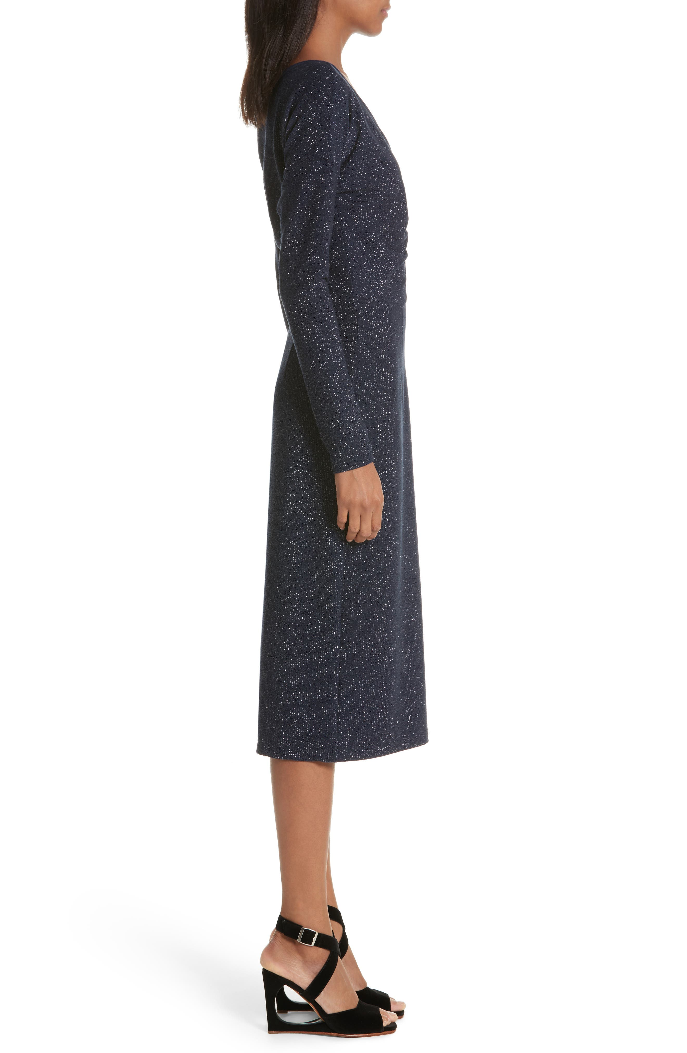 Temper Metallic Knit Dress,                             Alternate thumbnail 3, color,                             Navy