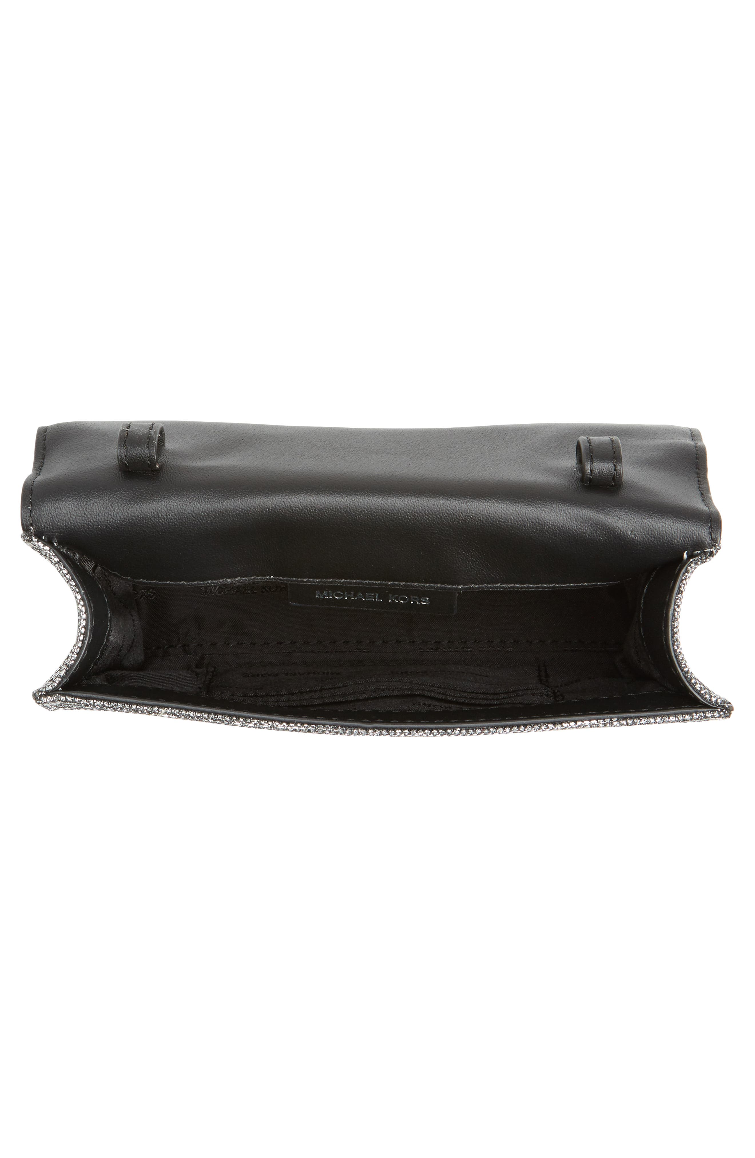 Medium Ruby Convertible Leather Clutch,                             Alternate thumbnail 4, color,                             Black/ Silver