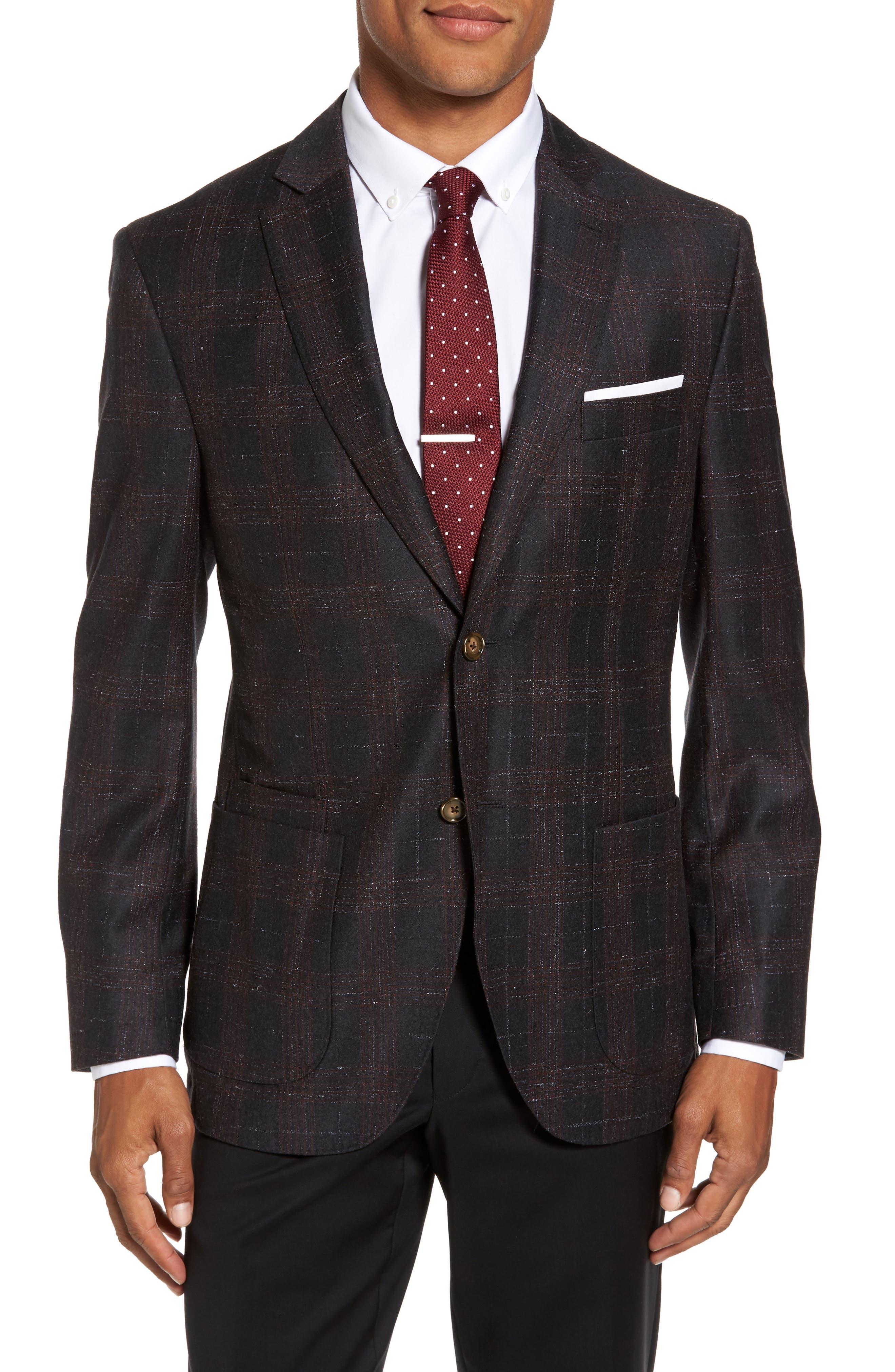 Trim Fit Plaid Wool Sport Coat,                         Main,                         color, Charcoal