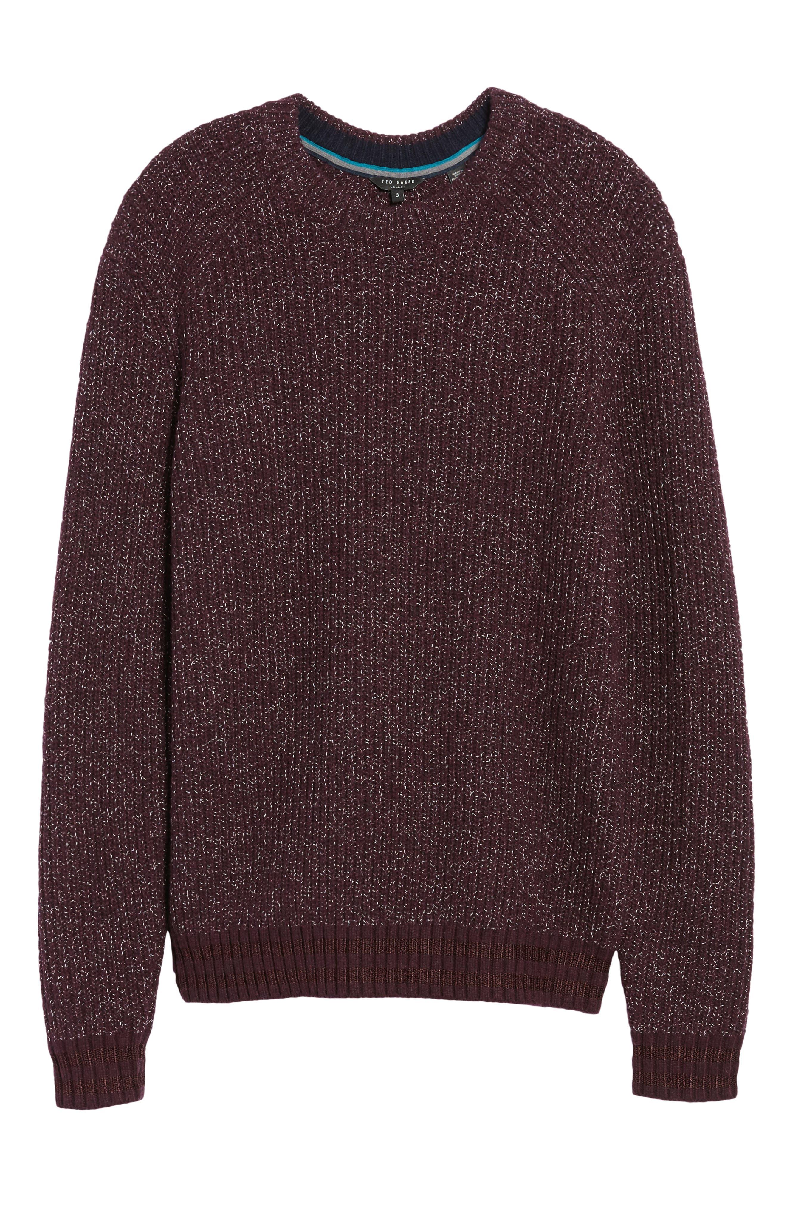 Textured Raglan Sweater,                             Alternate thumbnail 6, color,                             Dark Red