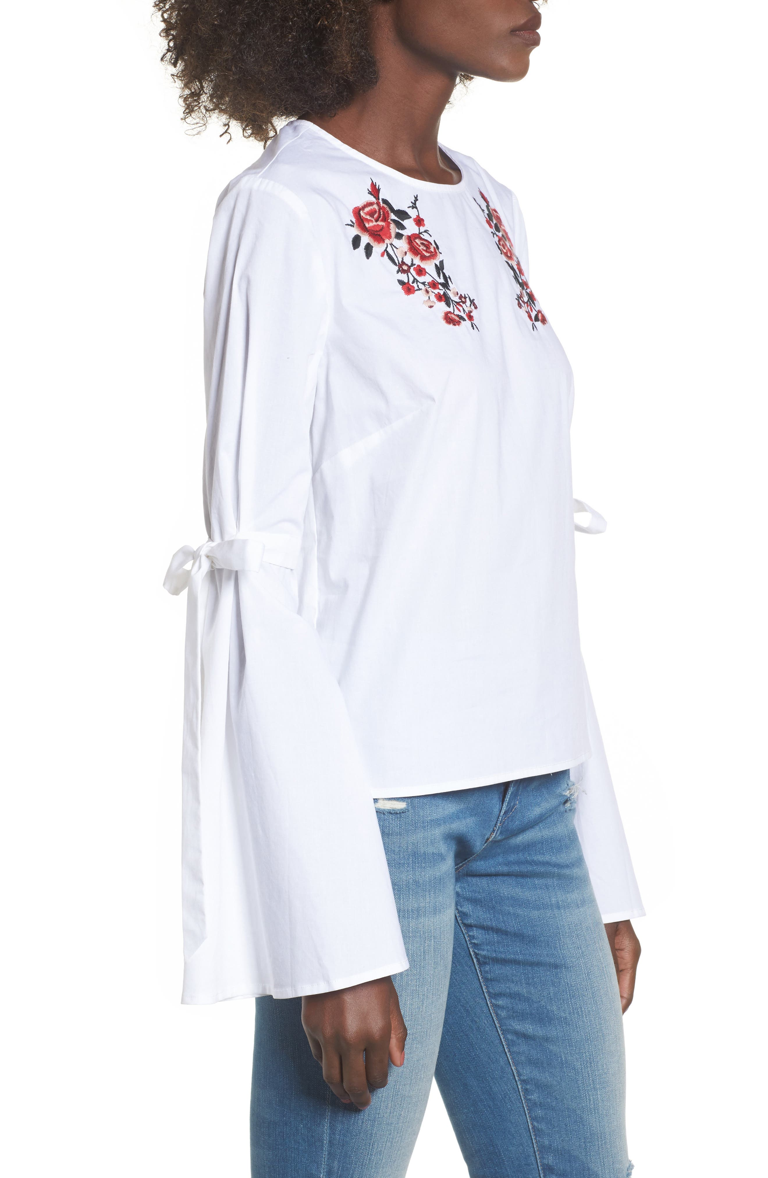 Floral Embroidery Bell Sleeve Top,                             Alternate thumbnail 3, color,                             White