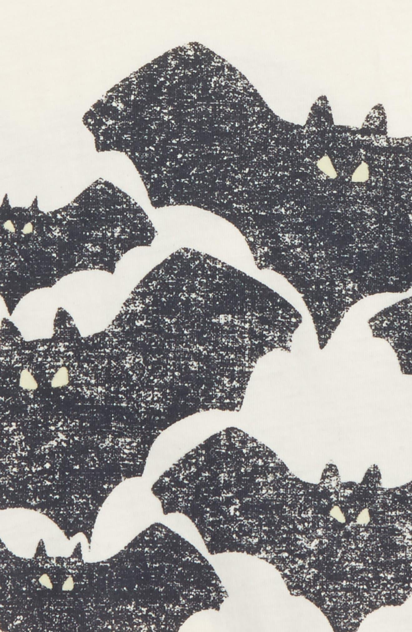 Bats Glow in the Dark T-Shirt,                             Alternate thumbnail 3, color,                             Ivory