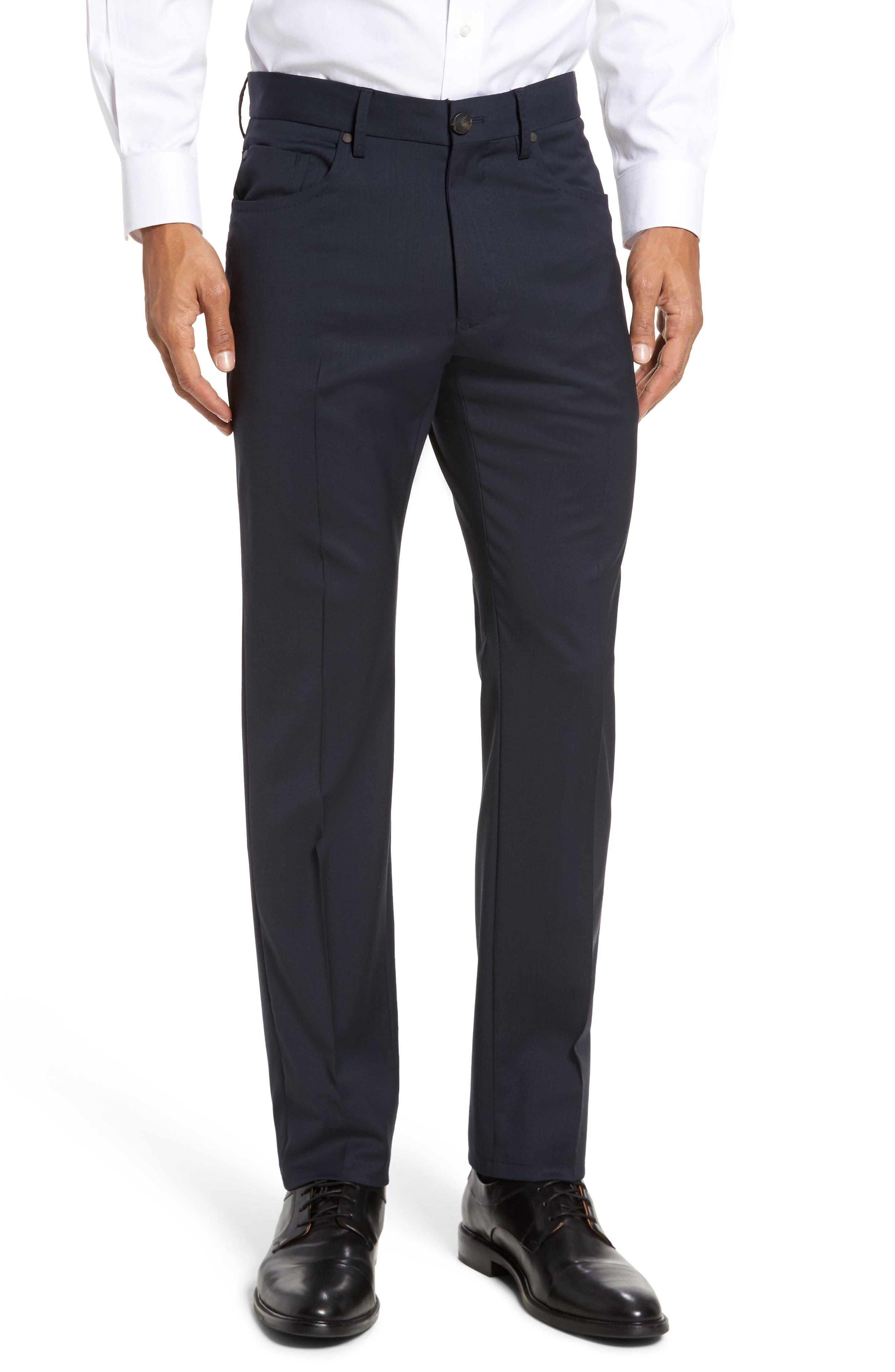 Five-Pocket Stretch Wool Pants,                         Main,                         color, Dark Blue