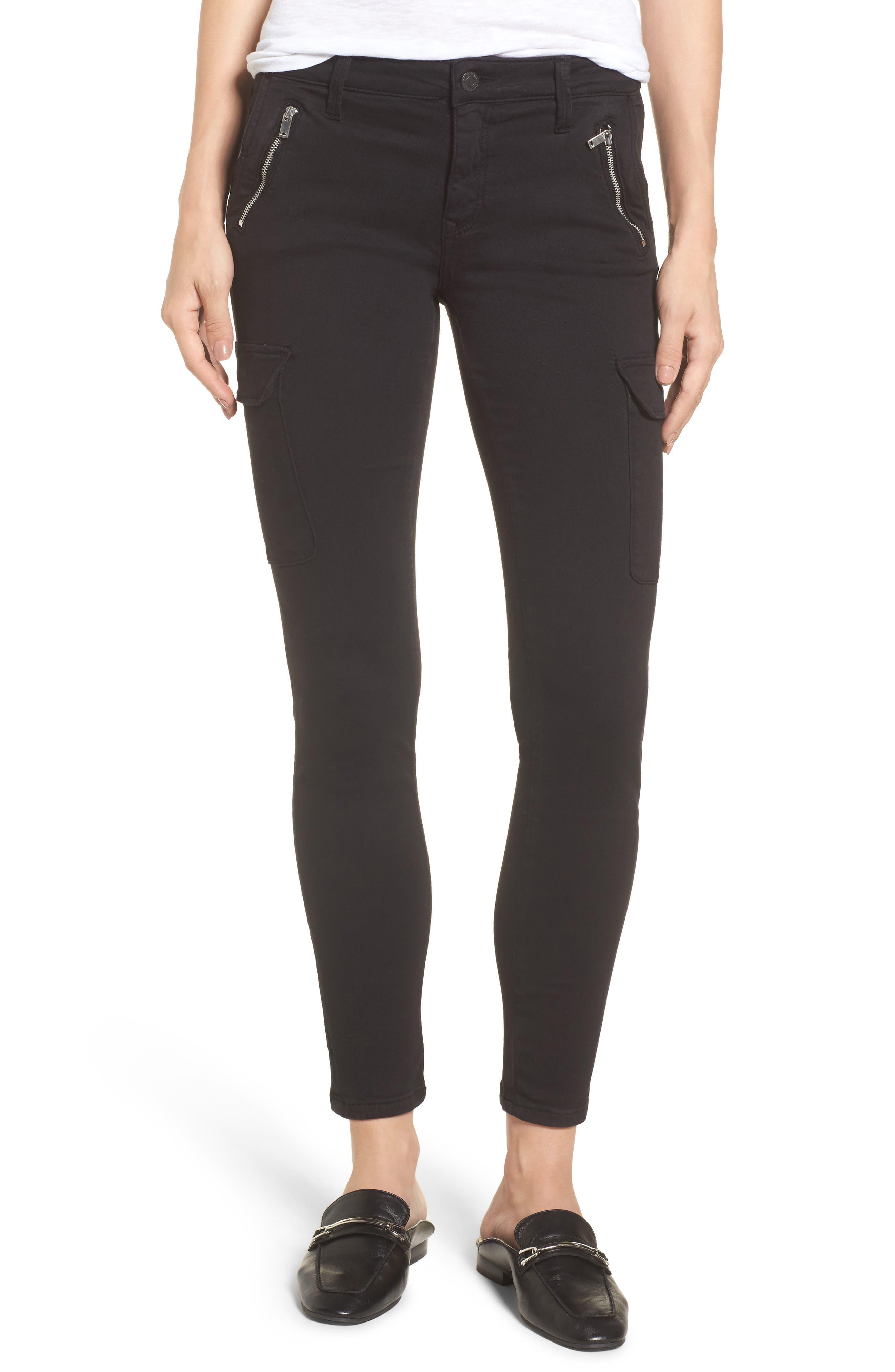 Juliette Skinny Cargo Pants,                         Main,                         color, Black Twill