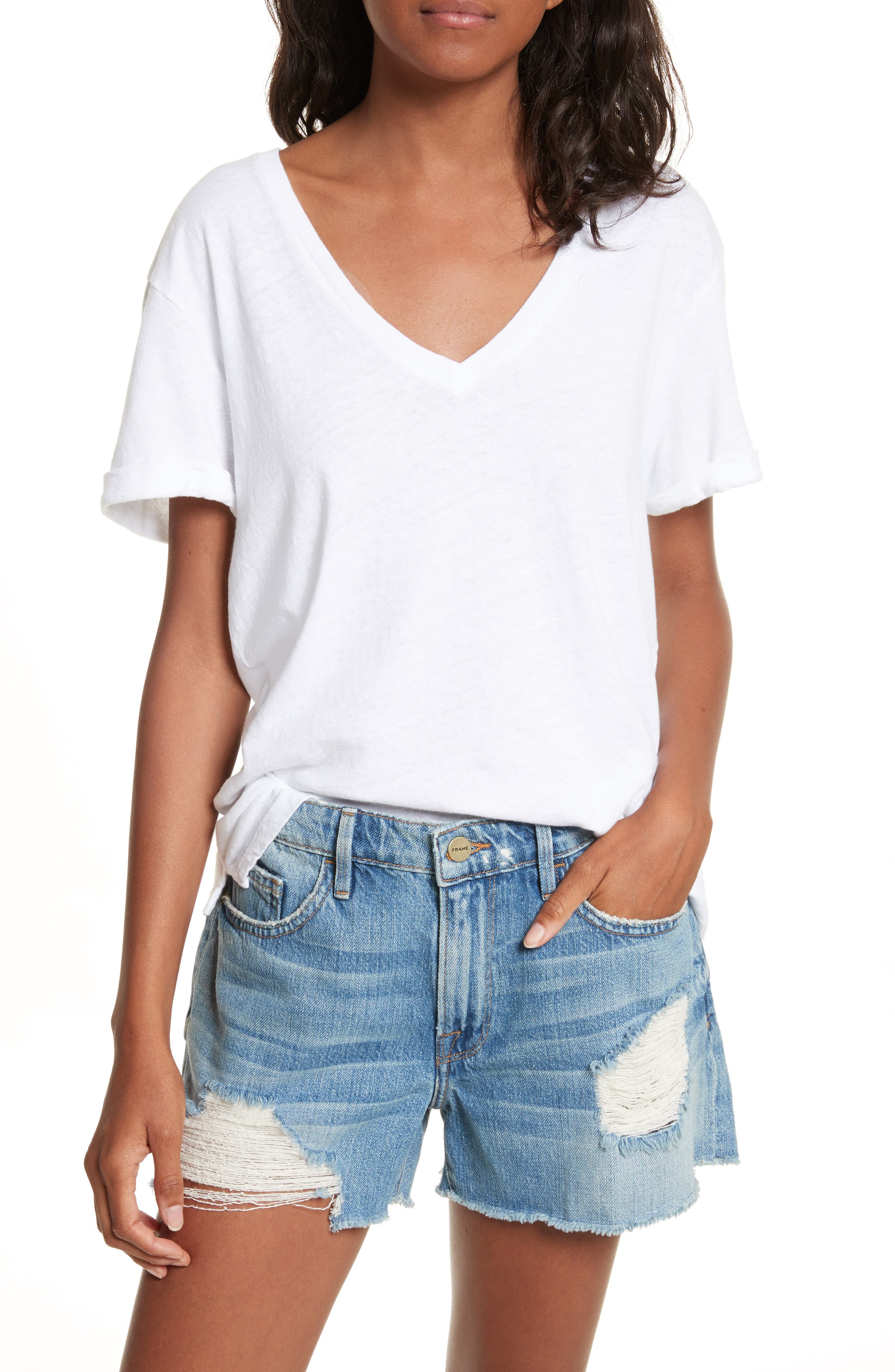 V-Neck Tee,                         Main,                         color, Blanc