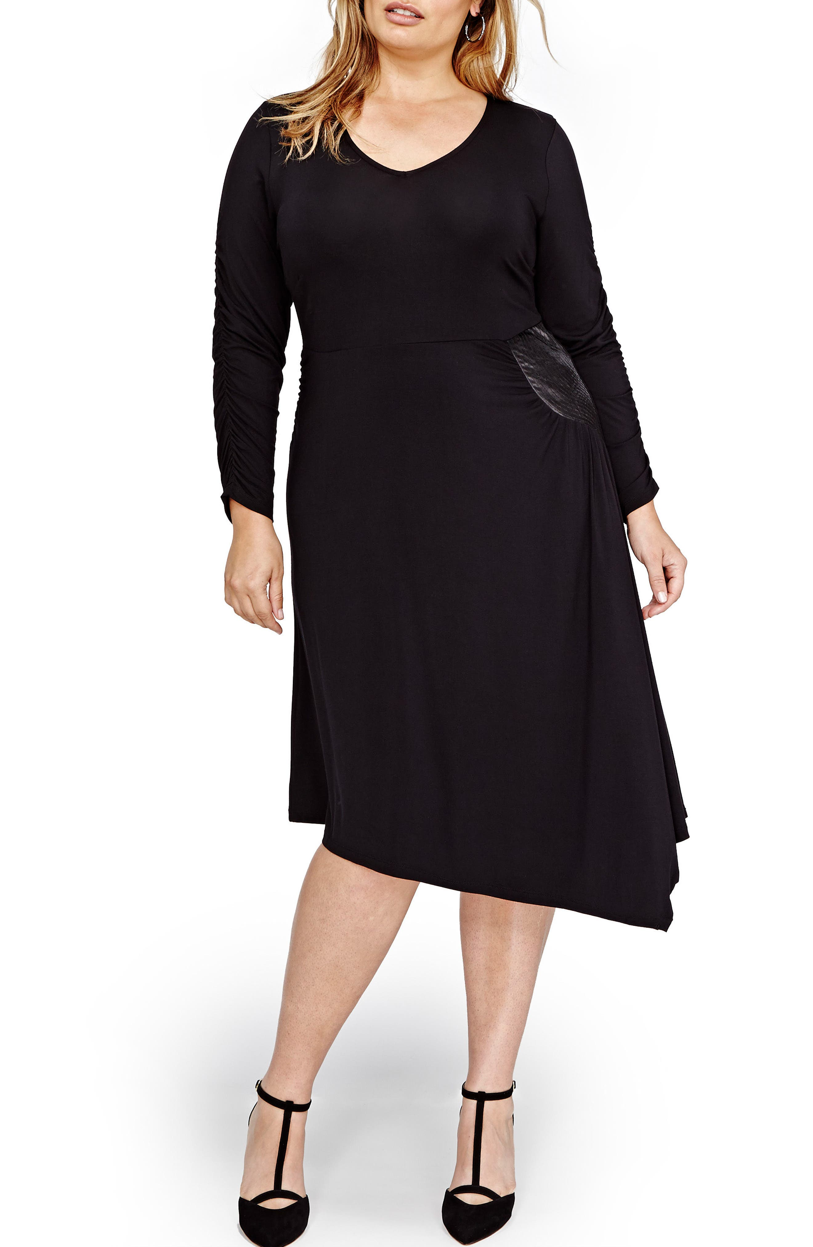 V-Neck Asymmetrical Dress,                             Main thumbnail 1, color,                             Black