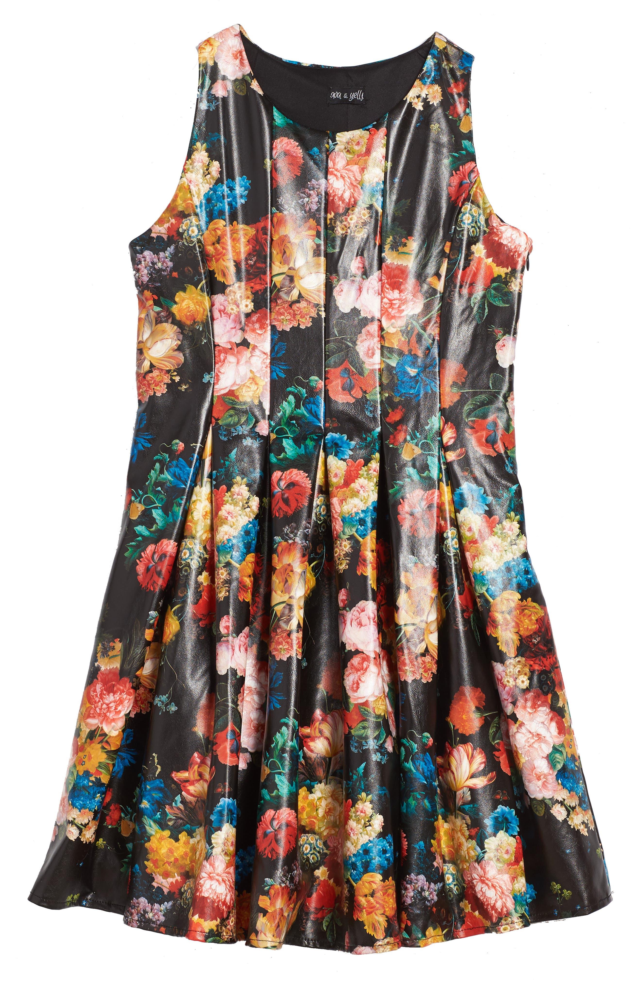 Main Image - Ava & Yelly Floral Print Skater Dress (Big Girls)