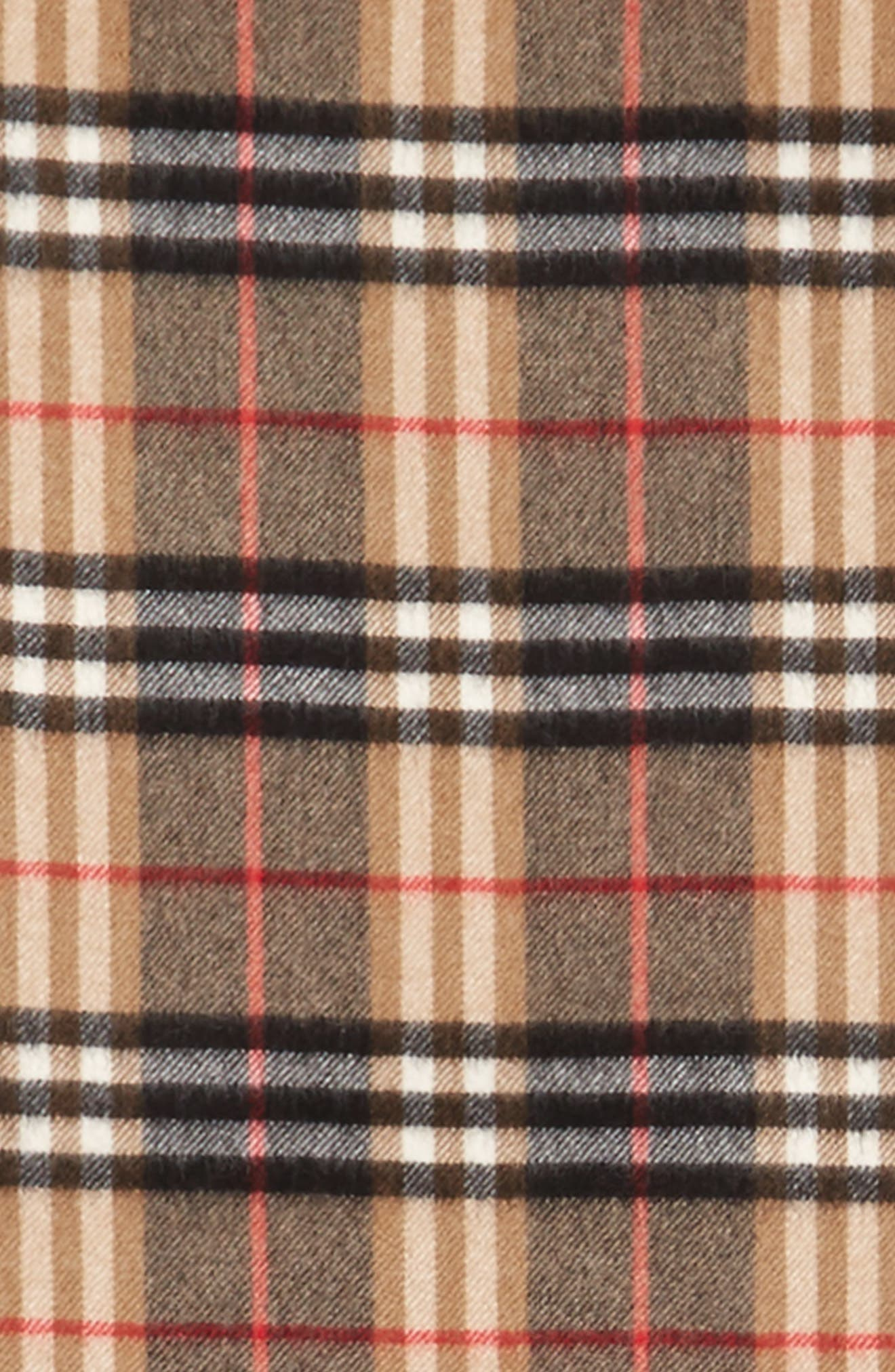 Castleford Check Cashmere Scarf,                             Alternate thumbnail 3, color,                             Camel