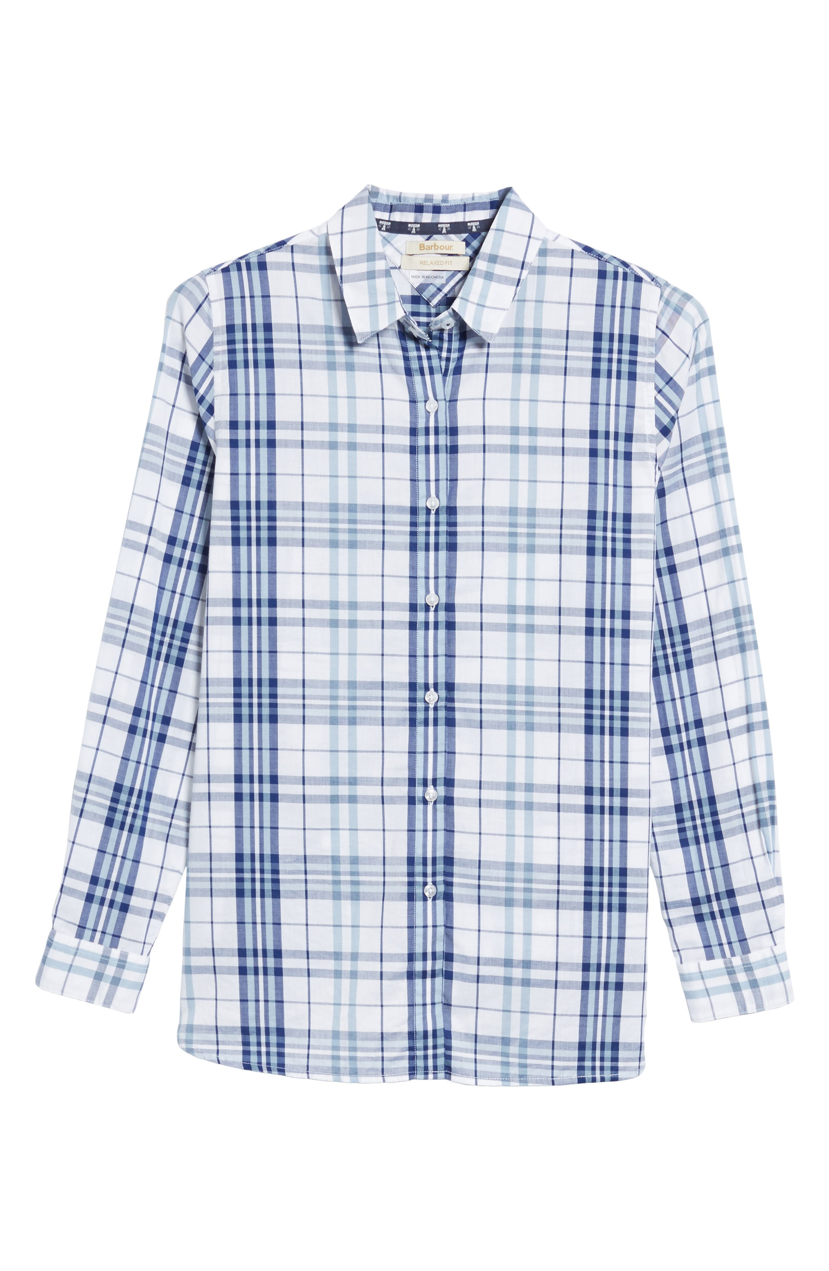 Selsey Plaid Shirt,                             Alternate thumbnail 6, color,                             White/ Coastal Blue