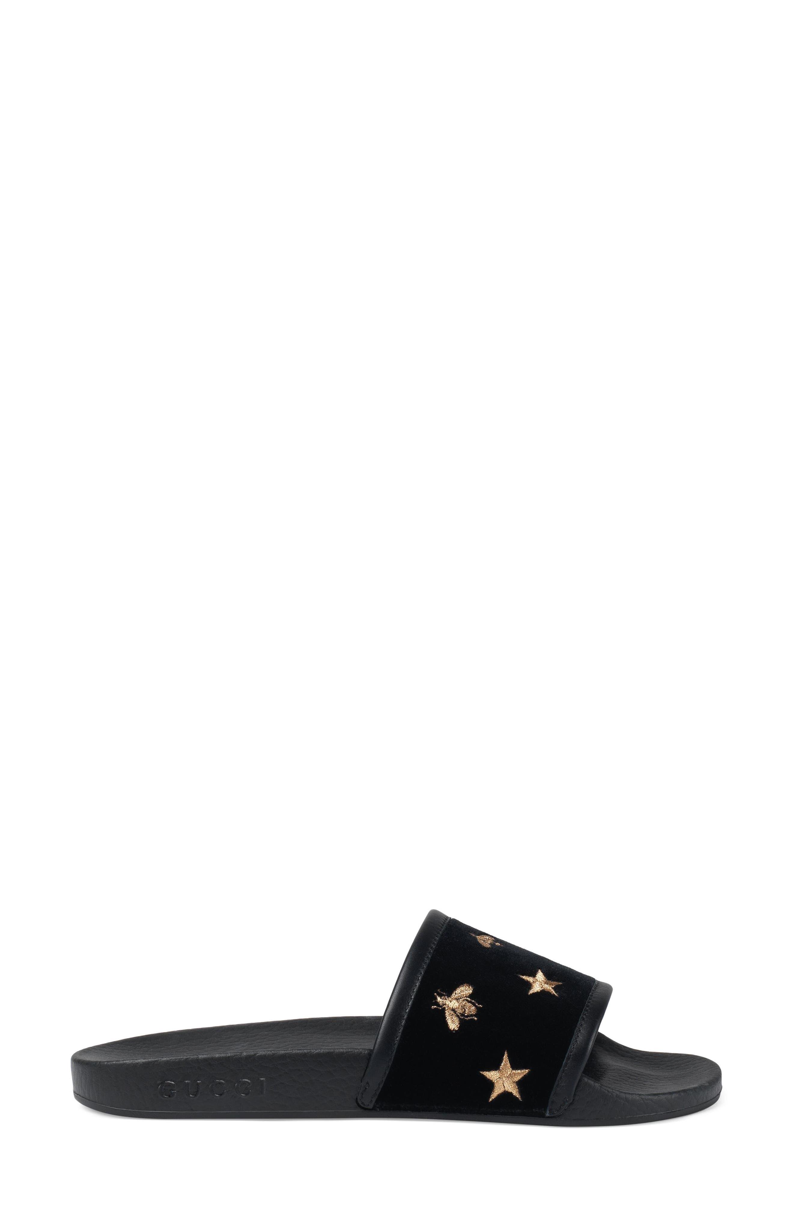 Pursuit Embroidered Slide Sandal,                             Alternate thumbnail 2, color,                             Black