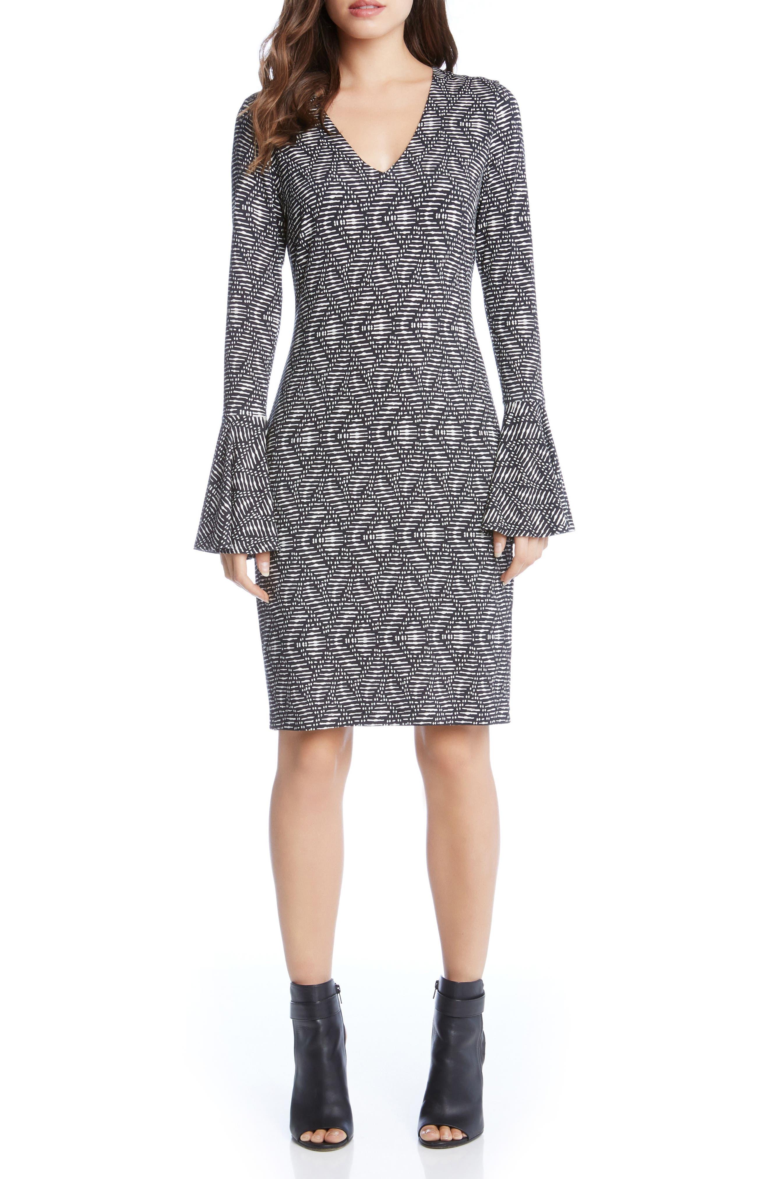 Main Image - Karen Kane Print Bell Sleeve Dress