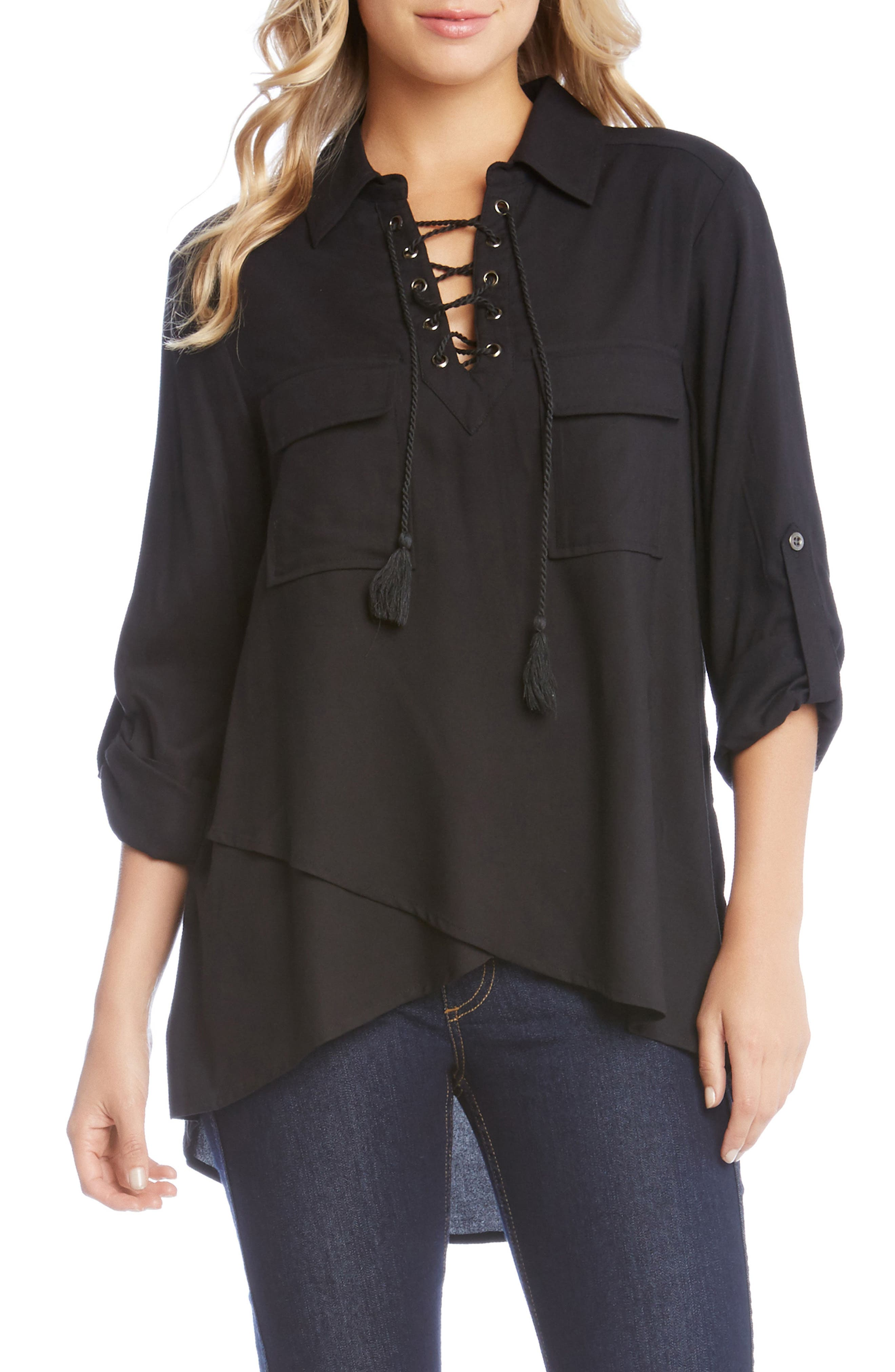 Lace-Up Wrap Front Top,                             Main thumbnail 1, color,                             Black