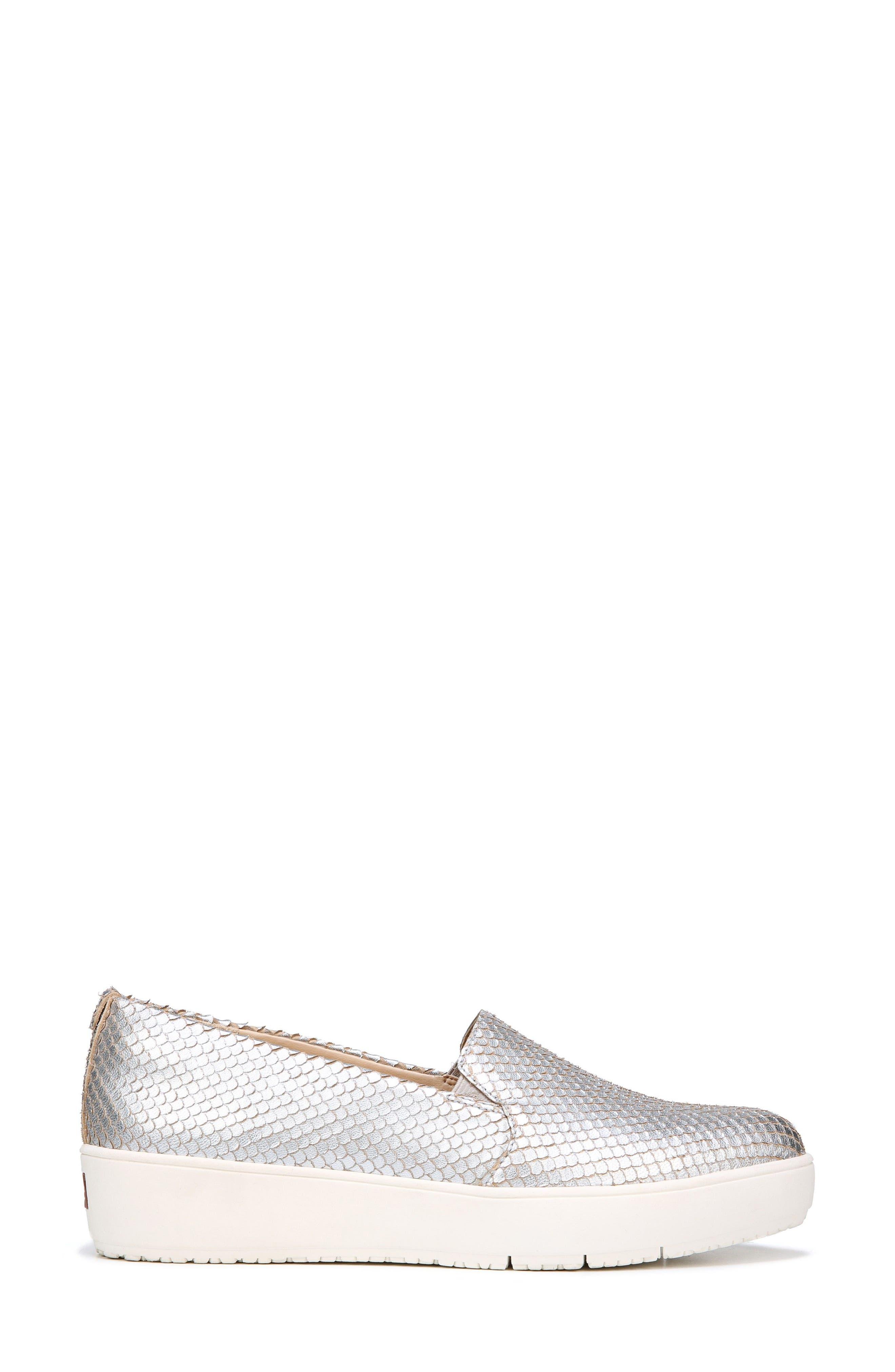 Bradyn Slip-On Sneaker,                             Alternate thumbnail 3, color,                             Silver Leather