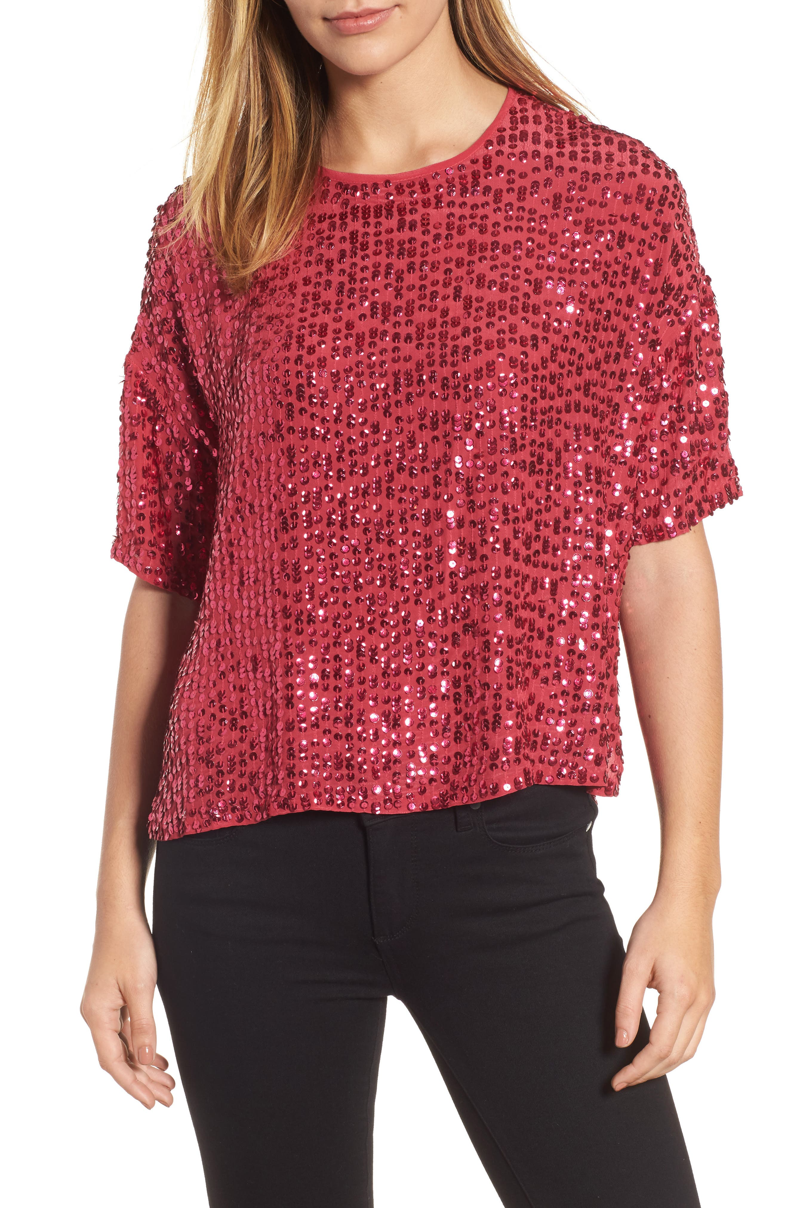 Short Sleeve Sequin Top,                         Main,                         color, Hot Pink