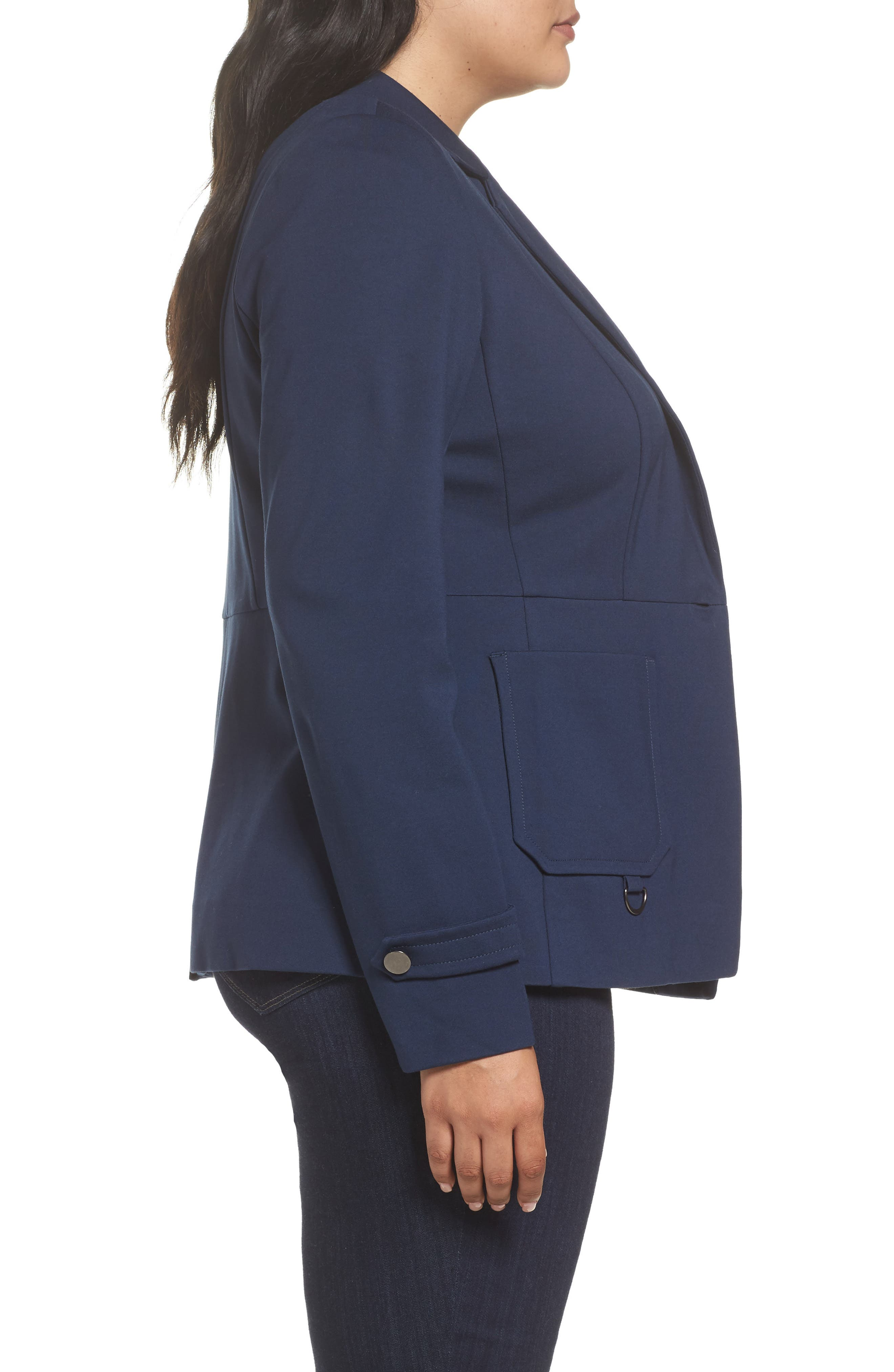 Fitted Utility Jacket,                             Alternate thumbnail 3, color,                             Navy Iris