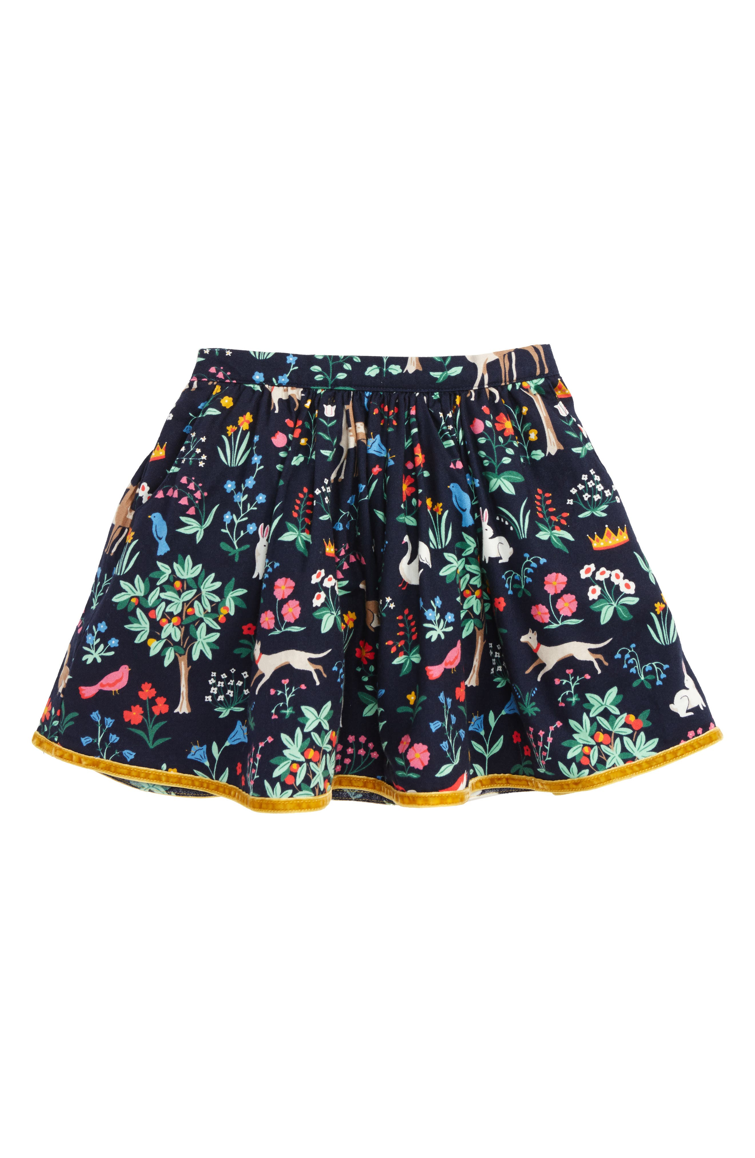 Pretty Printed Skirt,                         Main,                         color, School Navy Tapestry