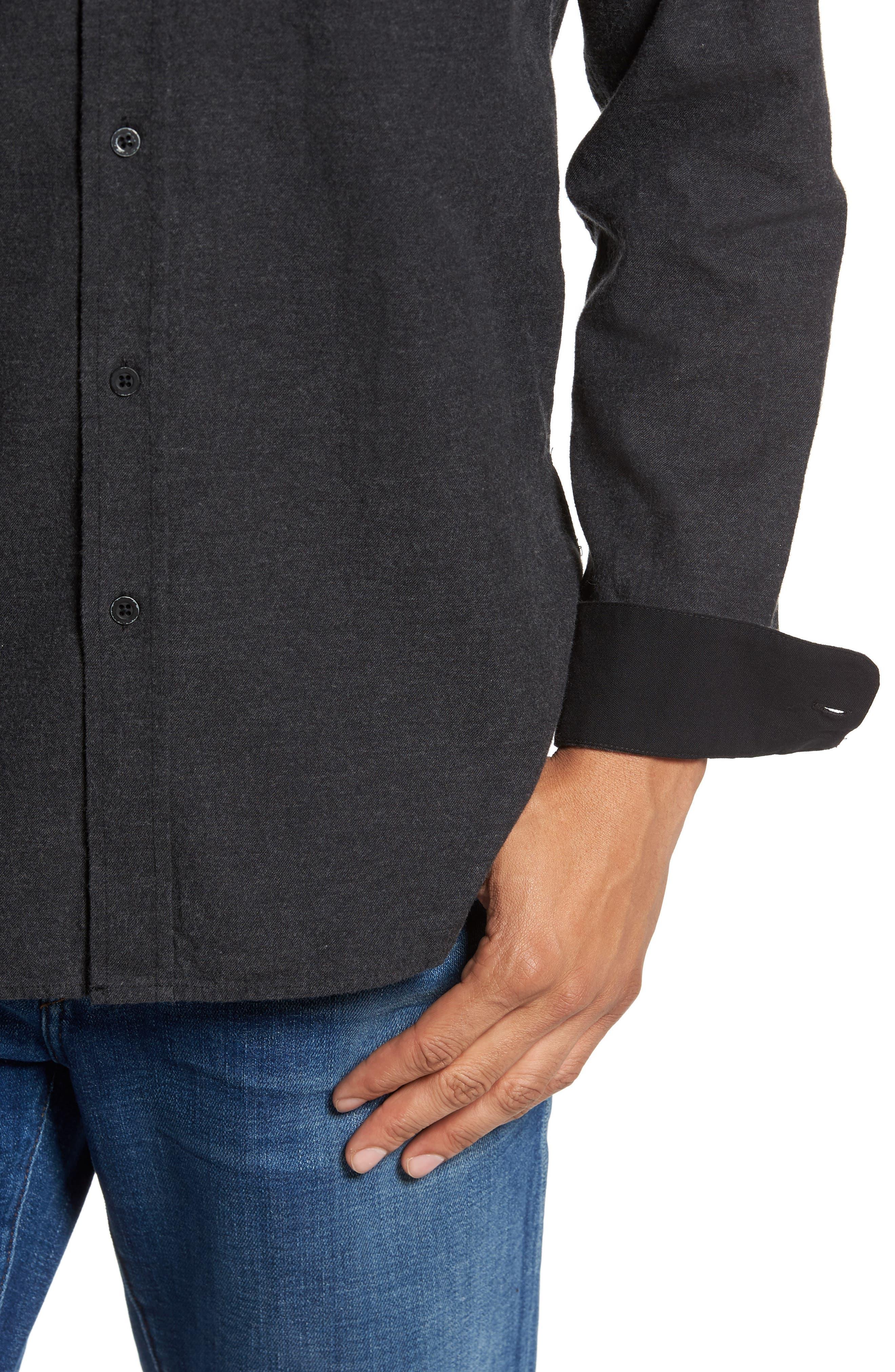 Caleb Slim Fit Sport Shirt,                             Alternate thumbnail 4, color,                             Heather Dark Charcoal