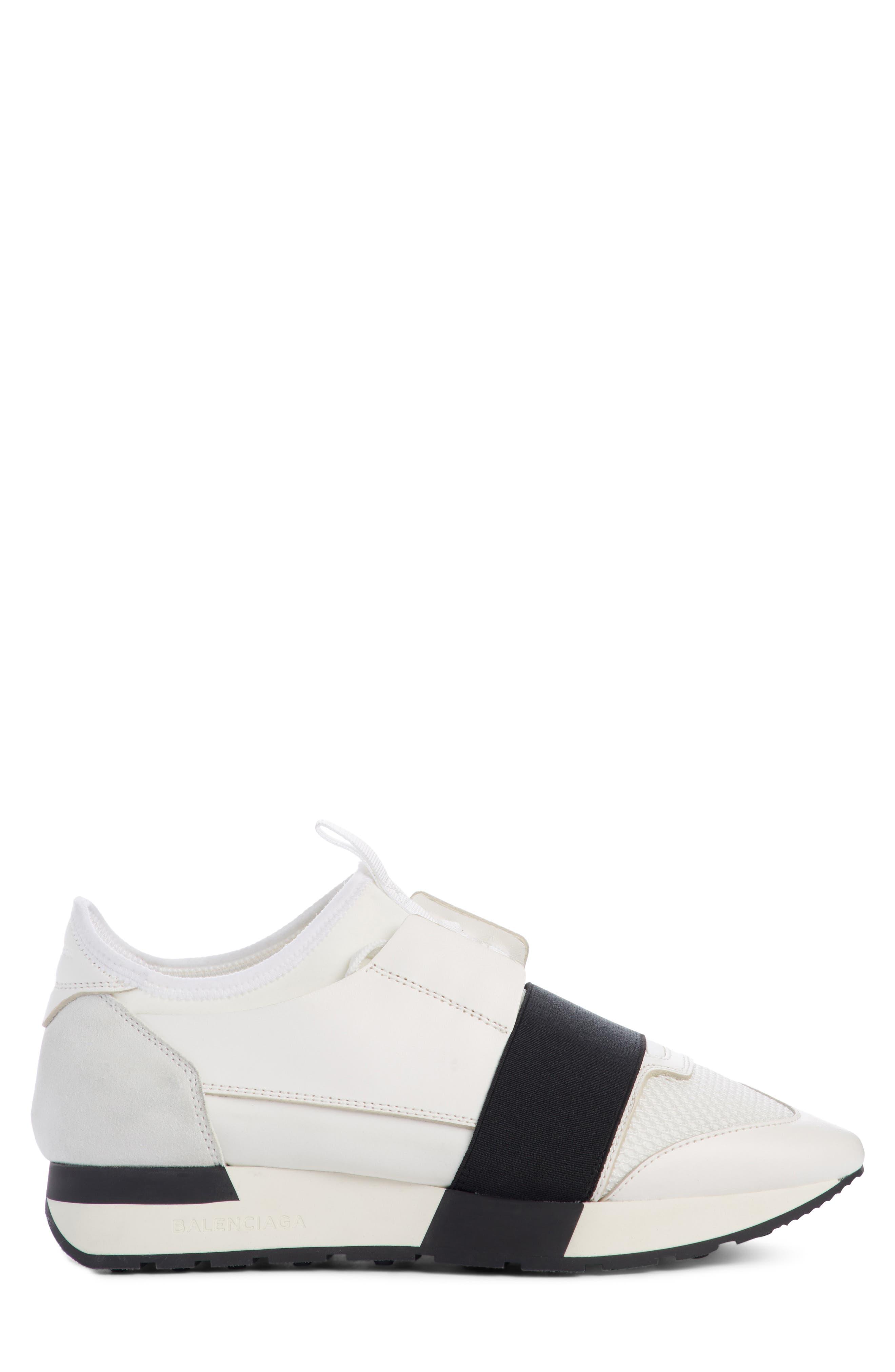 Mixed Media Trainer Sneaker,                             Alternate thumbnail 4, color,                             White/ Black