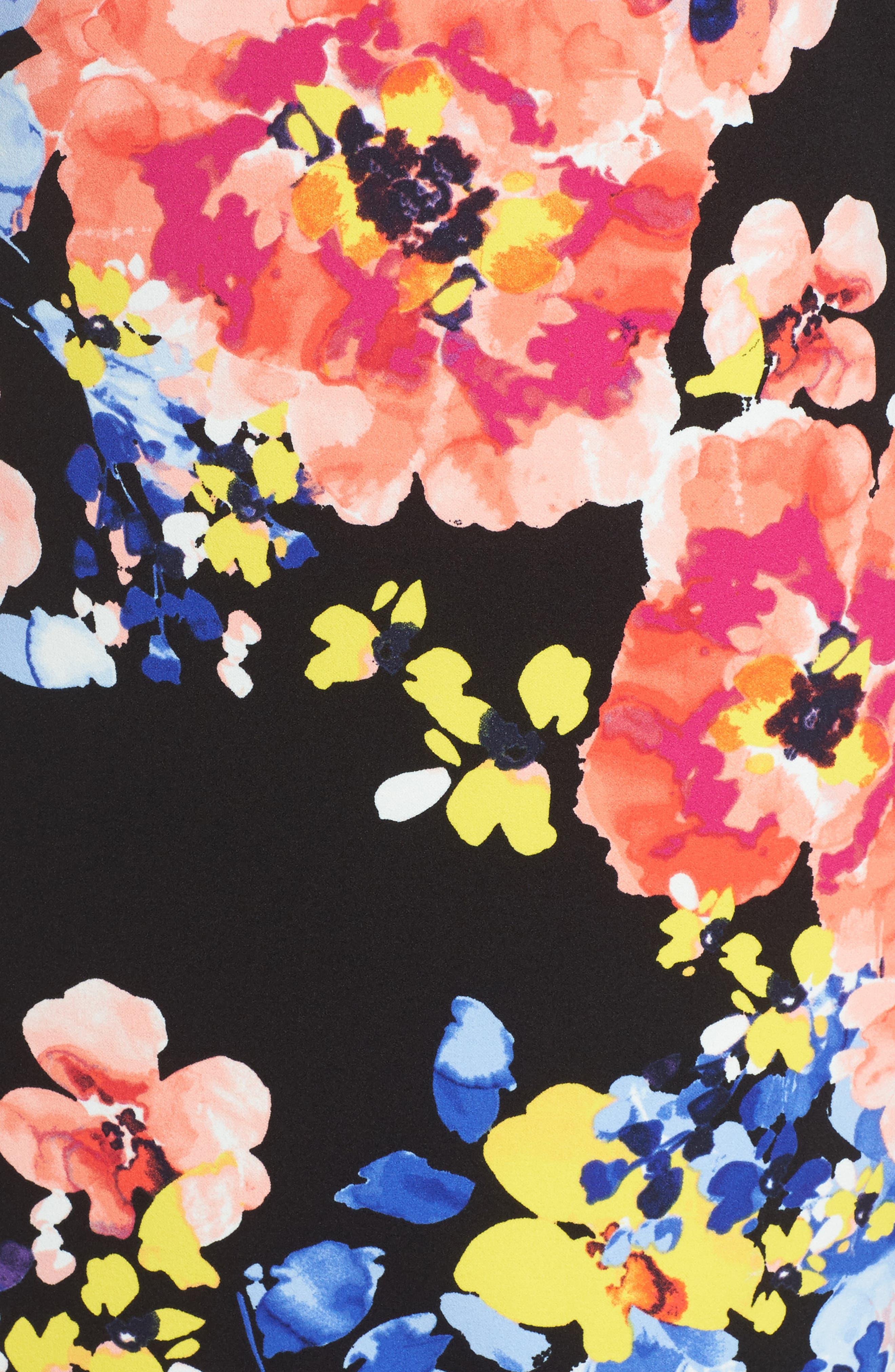 Alternate Image 5  - Tahari Print Ruffle Sleeve Shift Dress (Plus Size)
