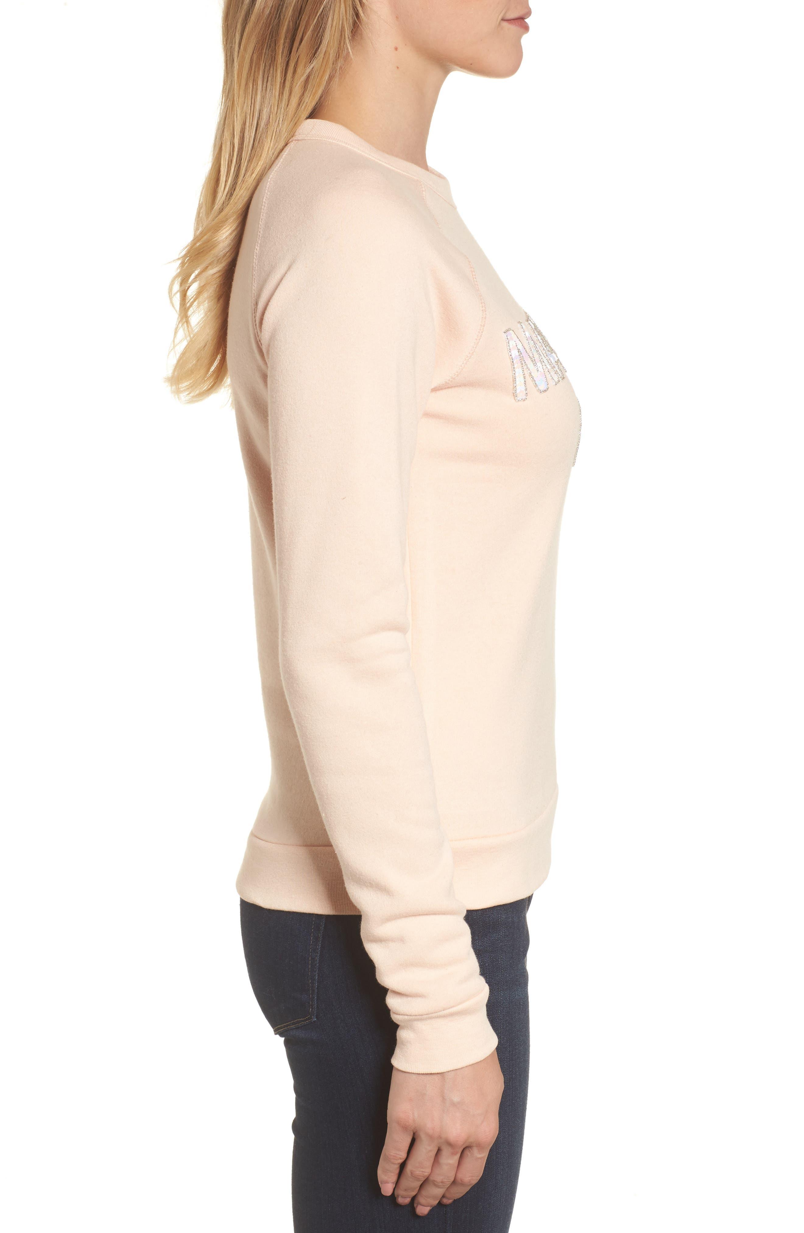 Material Girl Sweatshirt,                             Alternate thumbnail 3, color,                             Blush