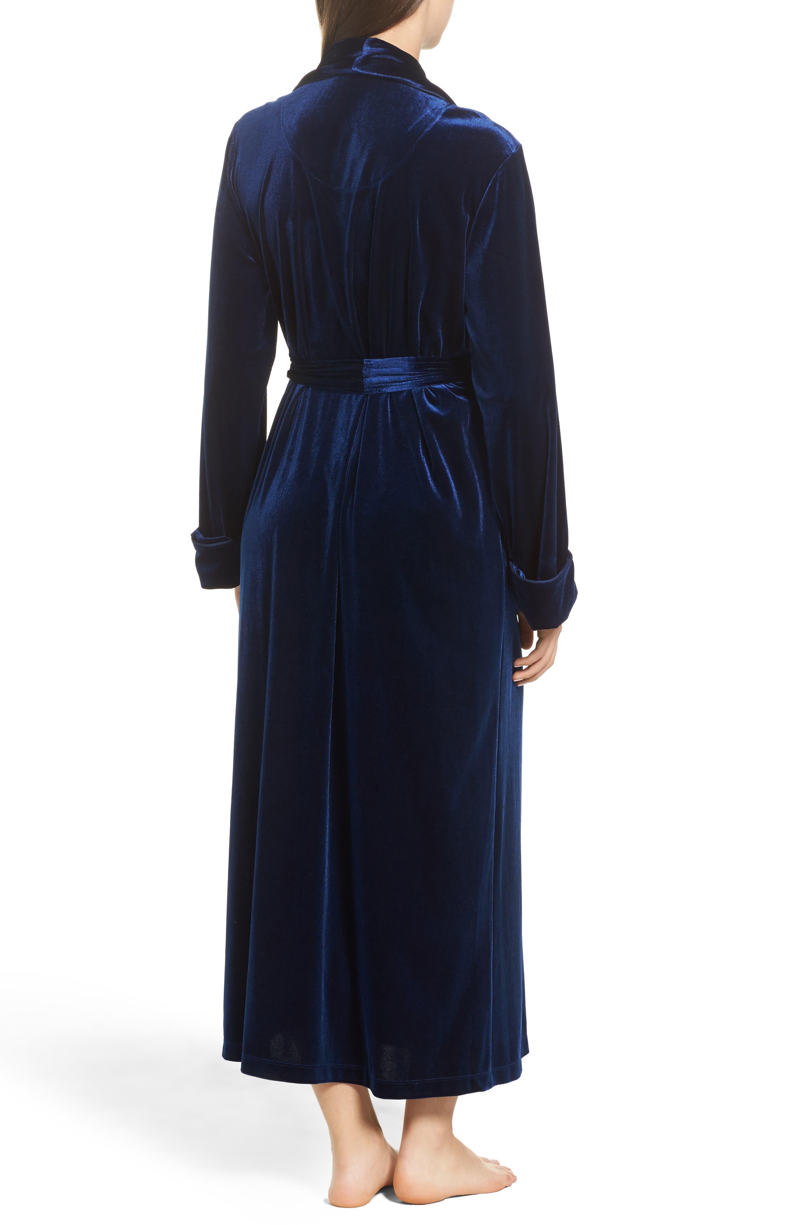 Shawl Collar Velvet Robe,                             Alternate thumbnail 2, color,                             Navy