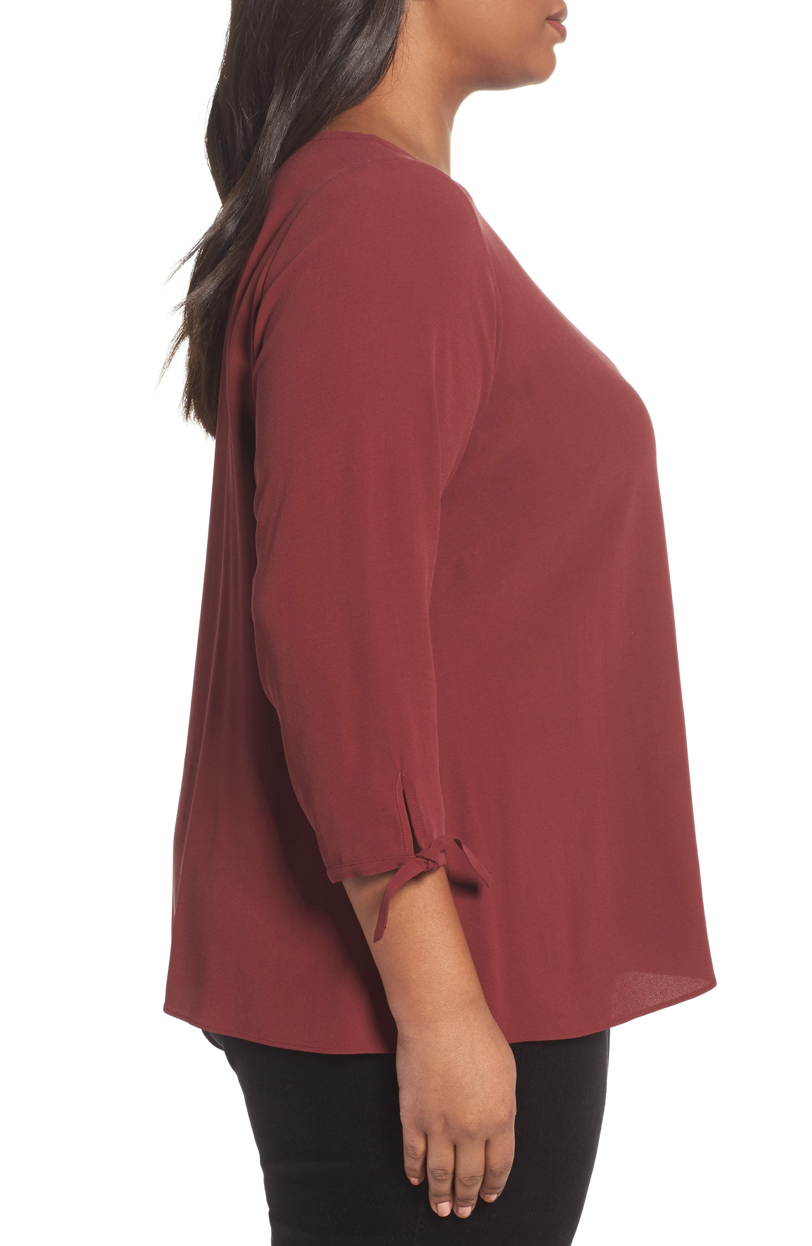 Silk Tie Sleeve Blouse,                             Alternate thumbnail 3, color,                             Red