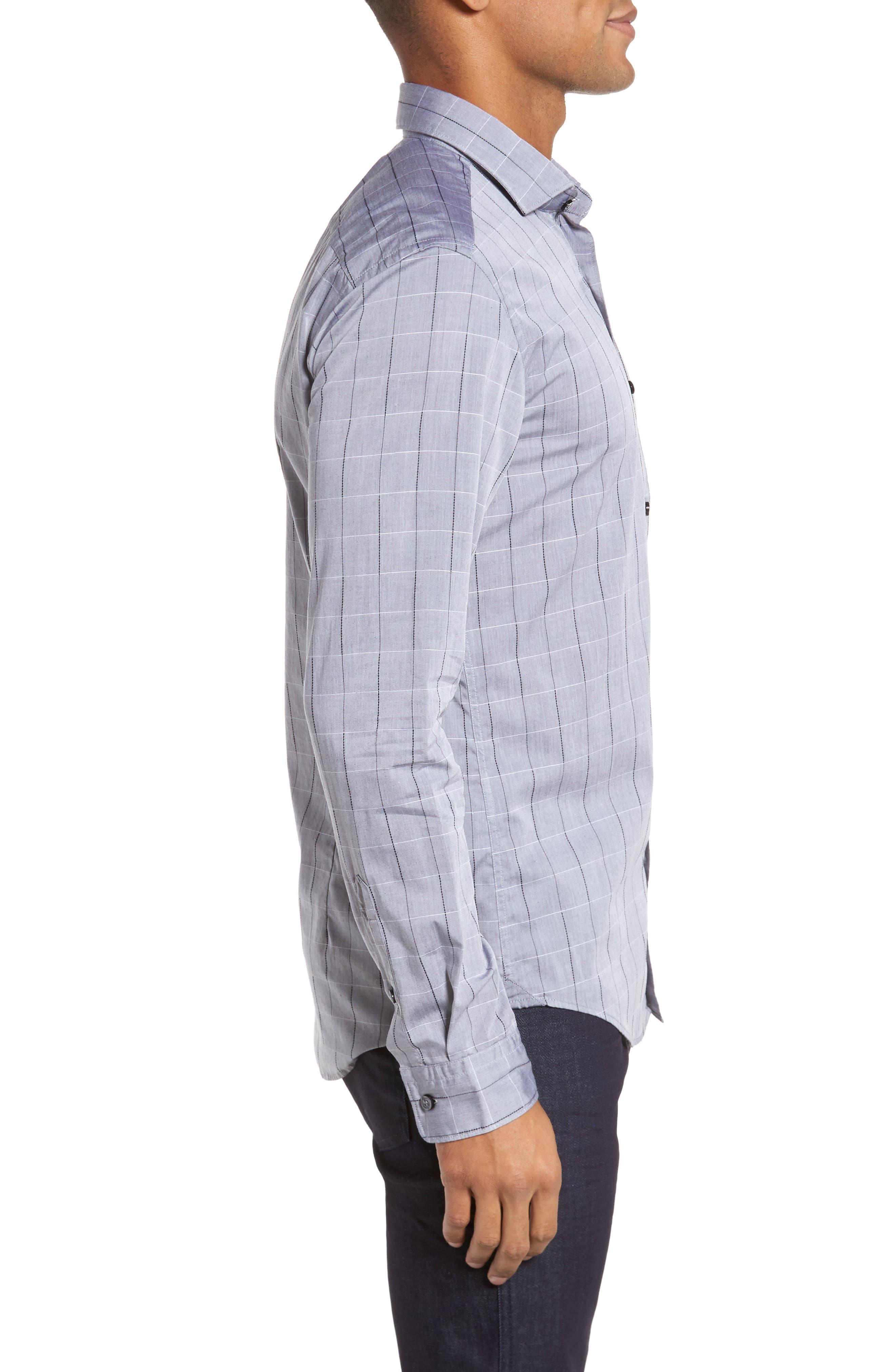 Ridley Slim Fit Dobby Check Sport Shirt,                             Alternate thumbnail 3, color,                             Grey