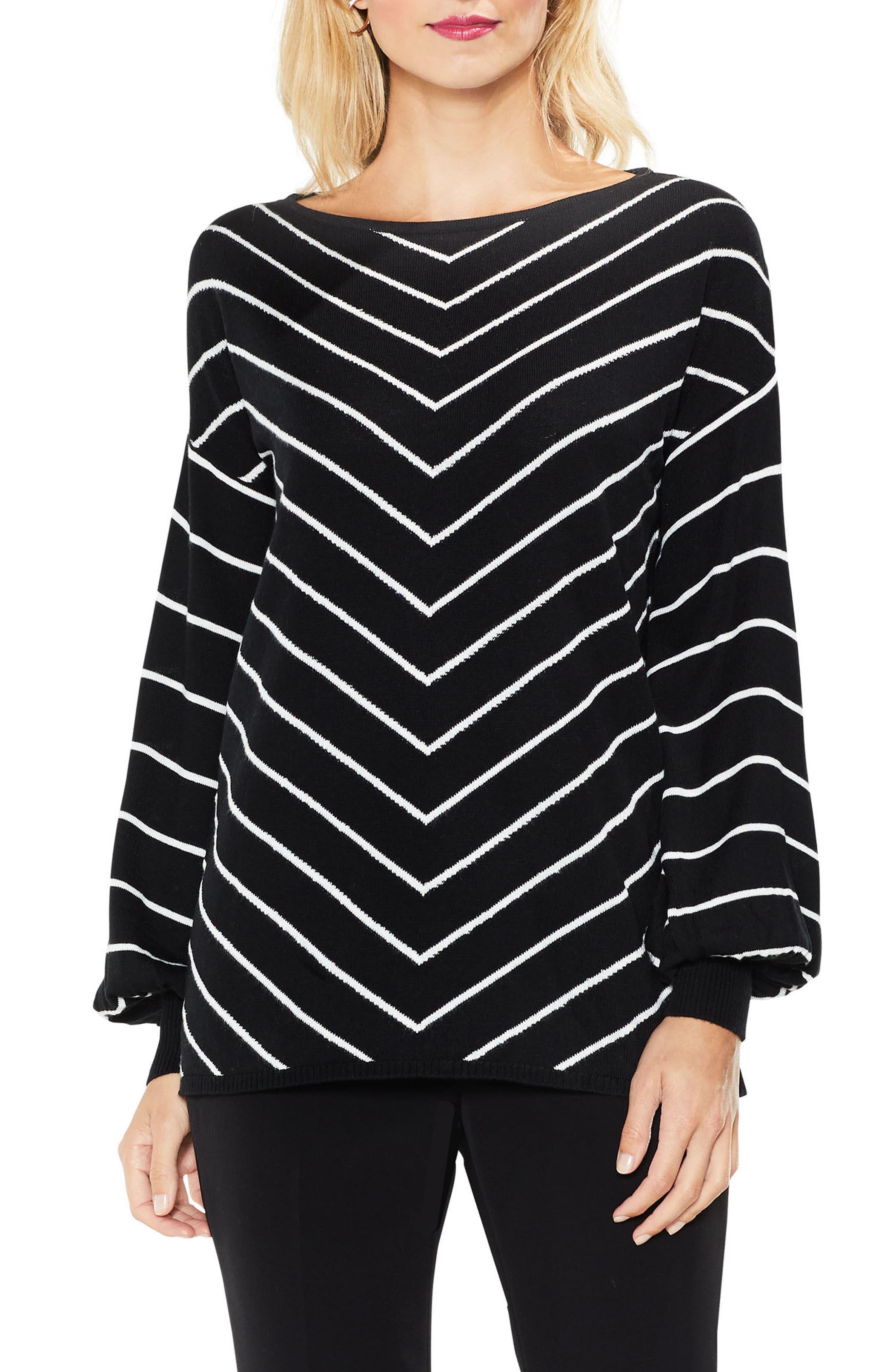 Chevron Intarsia Sweater,                             Main thumbnail 1, color,                             Rich Black