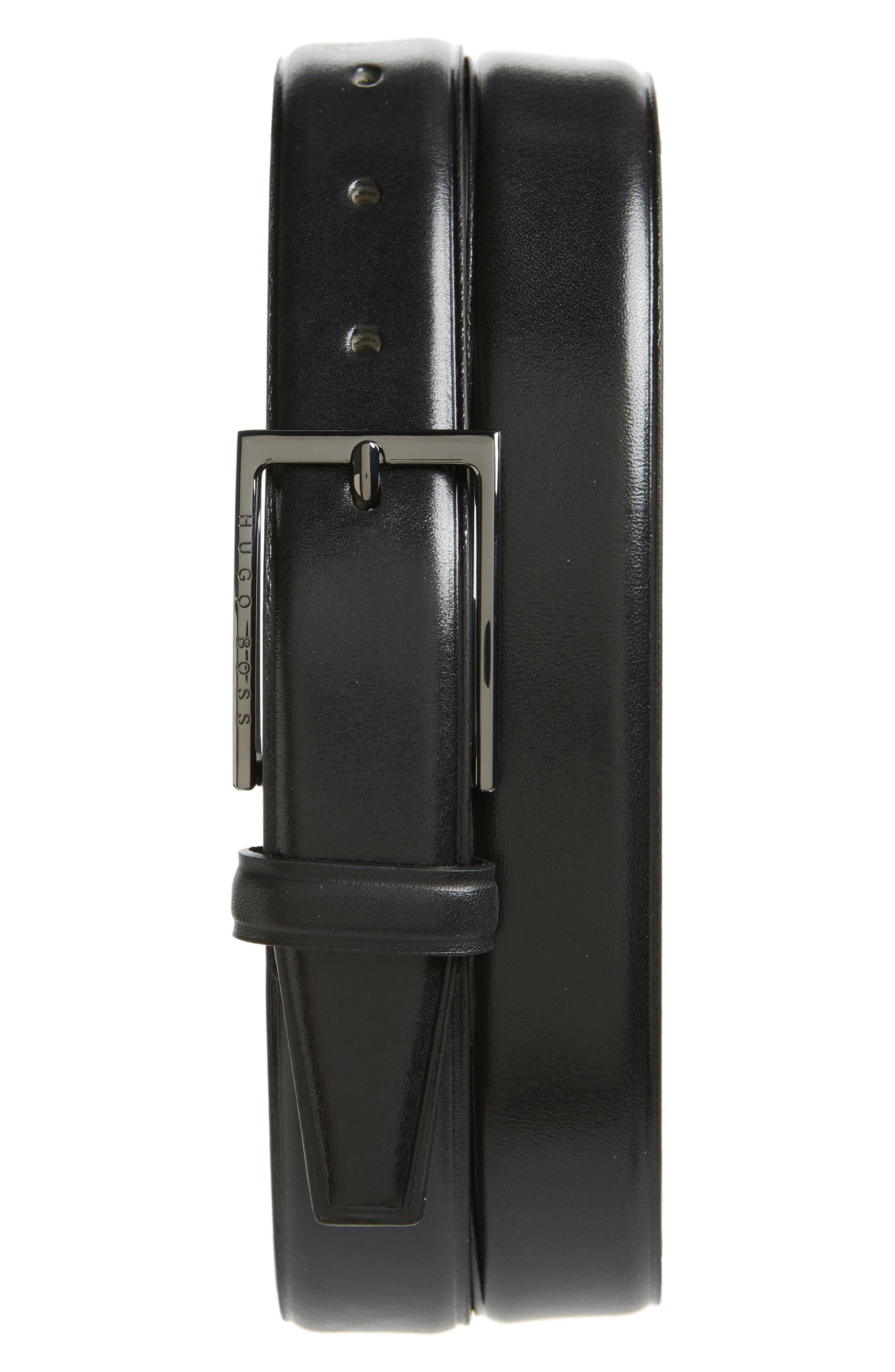 Cedys Leather Belt,                         Main,                         color, Black