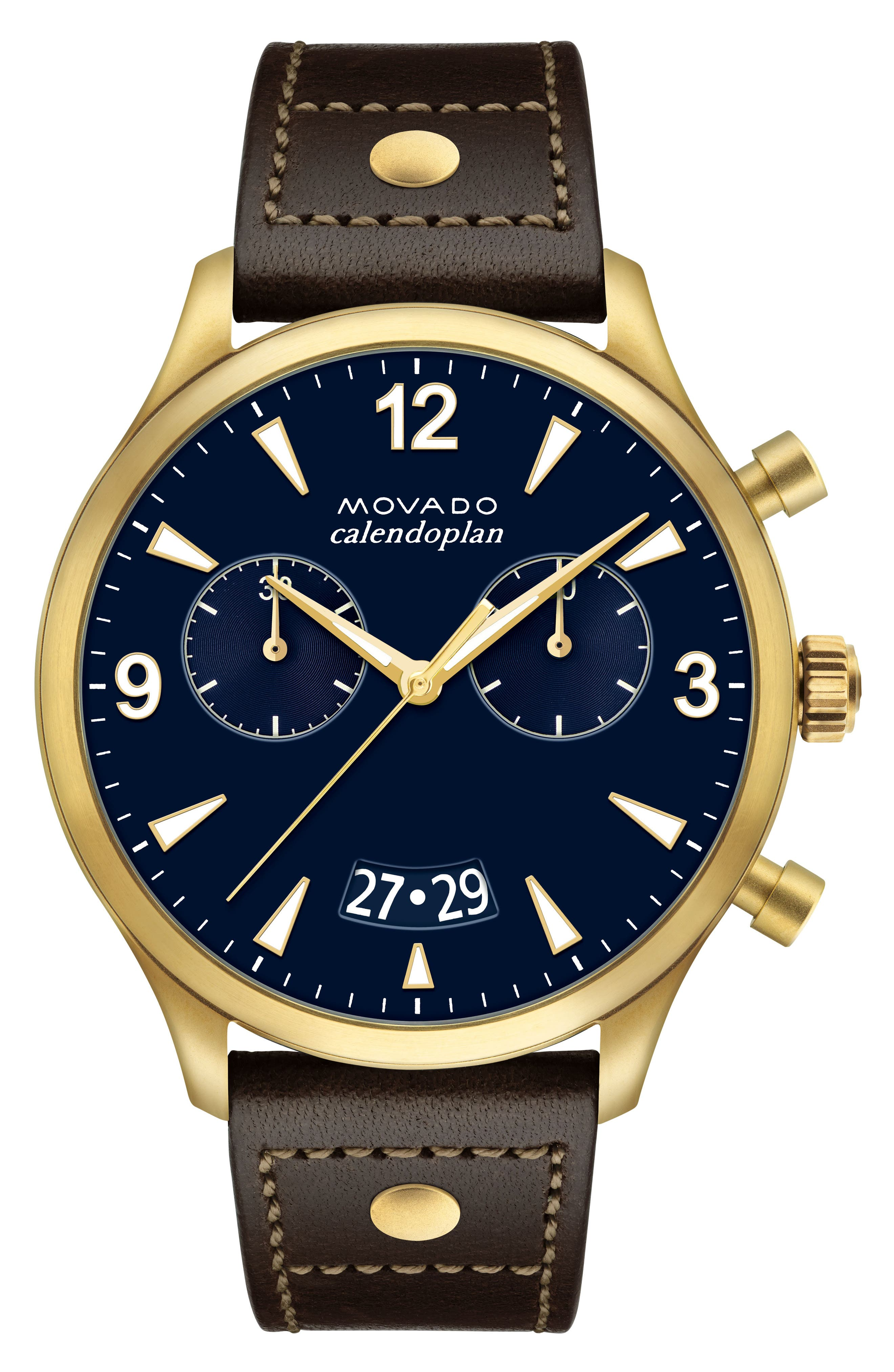 Heritage Calendoplan Chronograph Leather Strap Watch, 45mm,                         Main,                         color, Chocolate/ Blue/ Gold