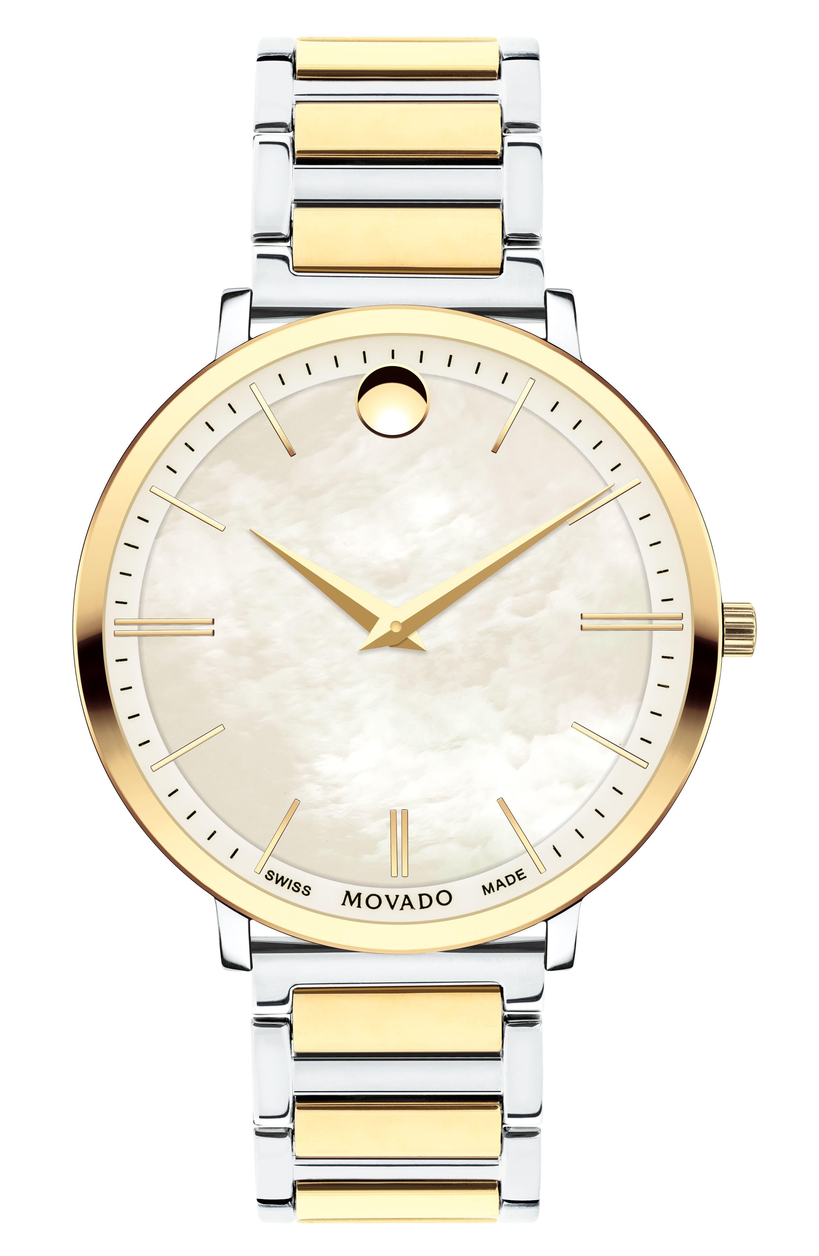 Ultra Slim Bracelet Watch, 35mm,                             Main thumbnail 1, color,                             Silver/ Mop/ Gold
