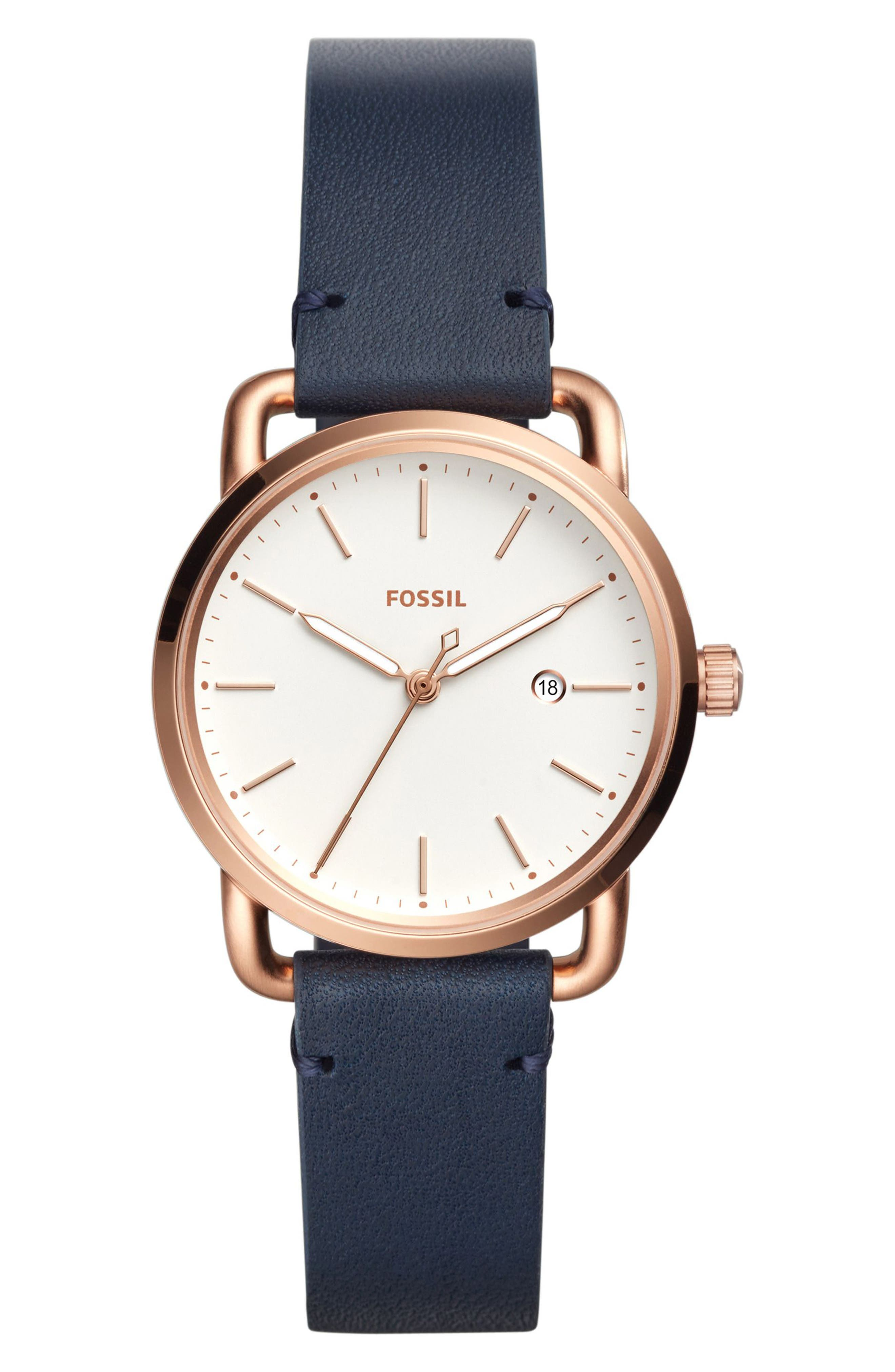Commuter Leather Strap Watch, 34mm,                             Main thumbnail 1, color,                             Blue/ White/ Rose Gold