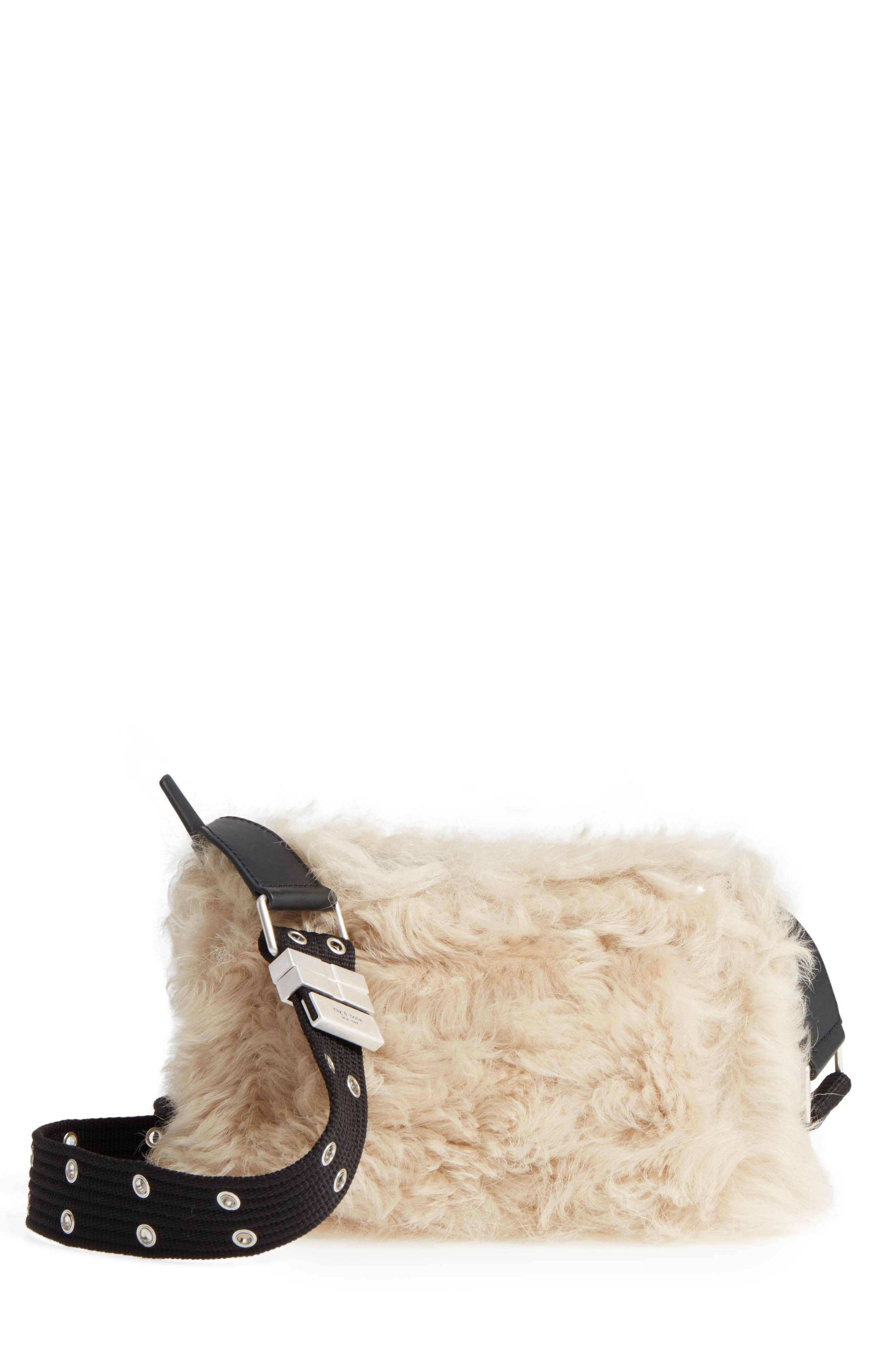Mini Compass Genuine Shearling Crossbody Bag,                             Main thumbnail 1, color,                             Cream Shearling