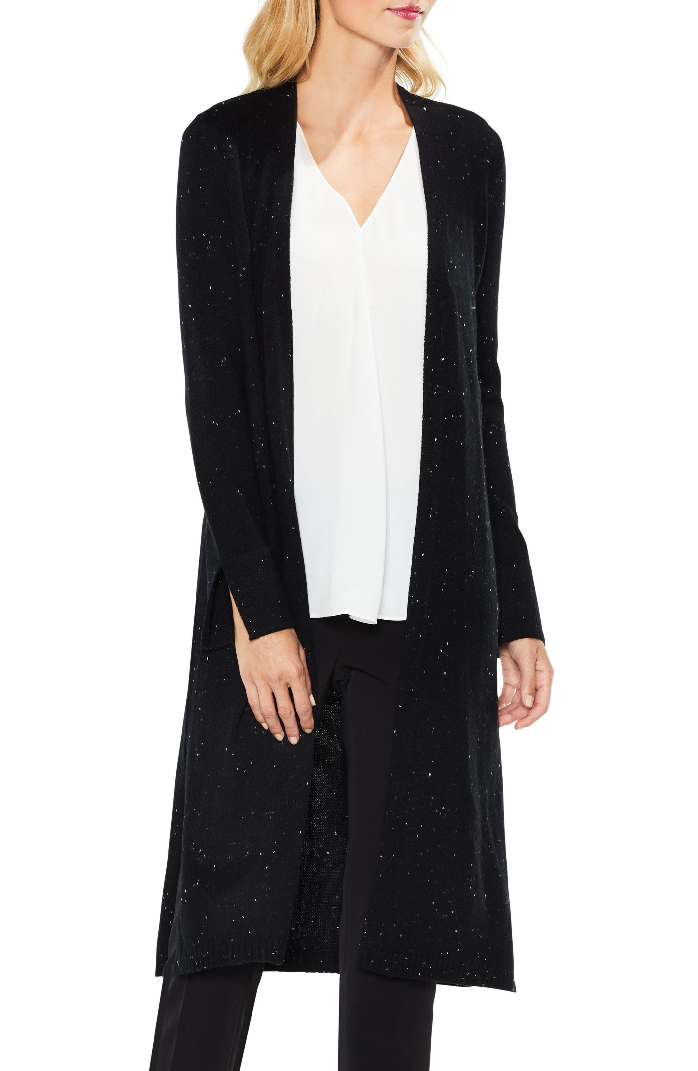 Speckled Open Front Maxi Cardigan,                         Main,                         color, Rich Black