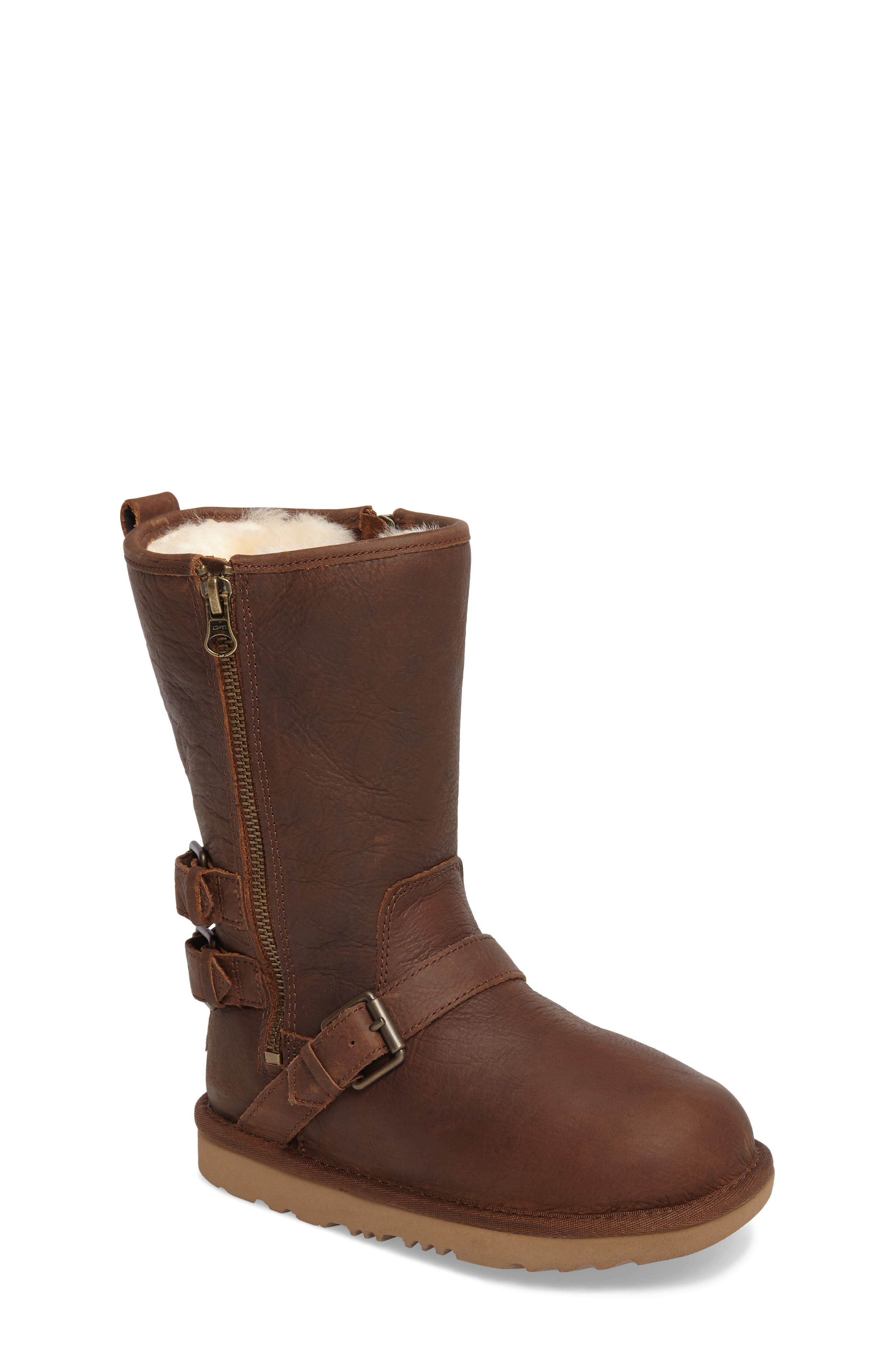 Kaila Genuine Shearling Buckle Strap Bootie,                             Main thumbnail 1, color,                             Toast