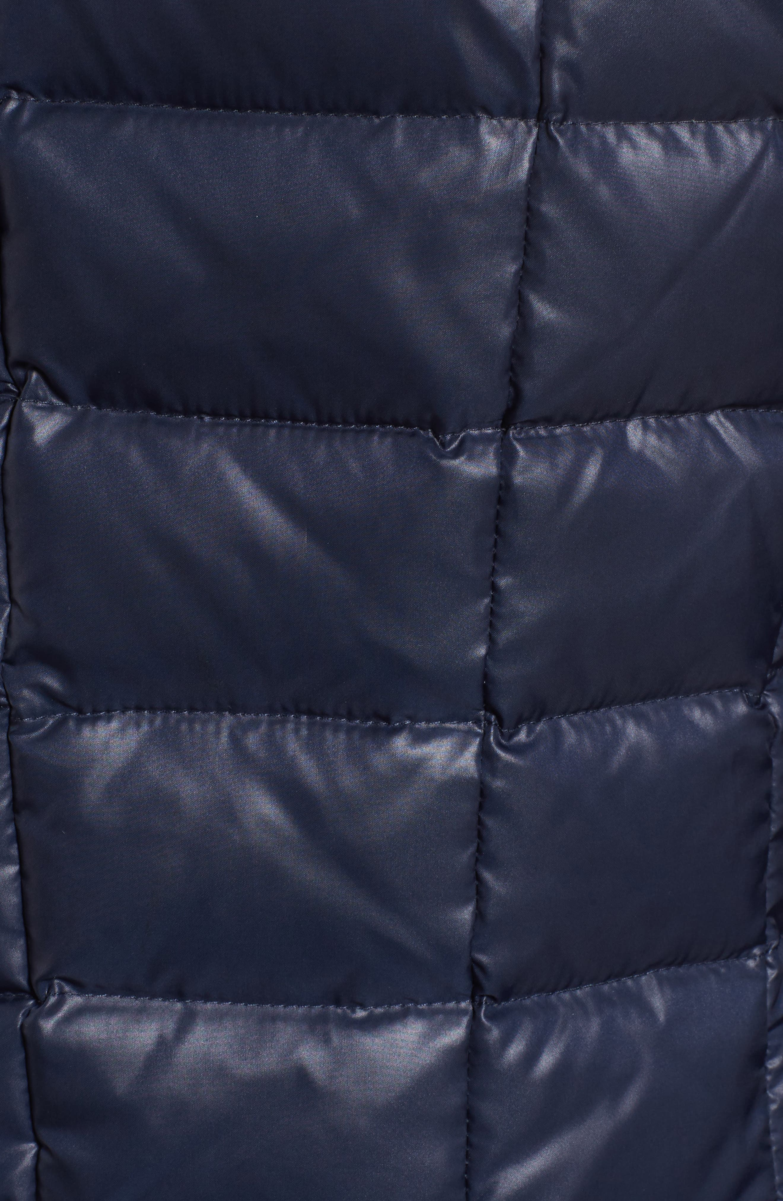 Quilted Coat with Genuine Coyote Fur,                             Alternate thumbnail 6, color,                             Navy