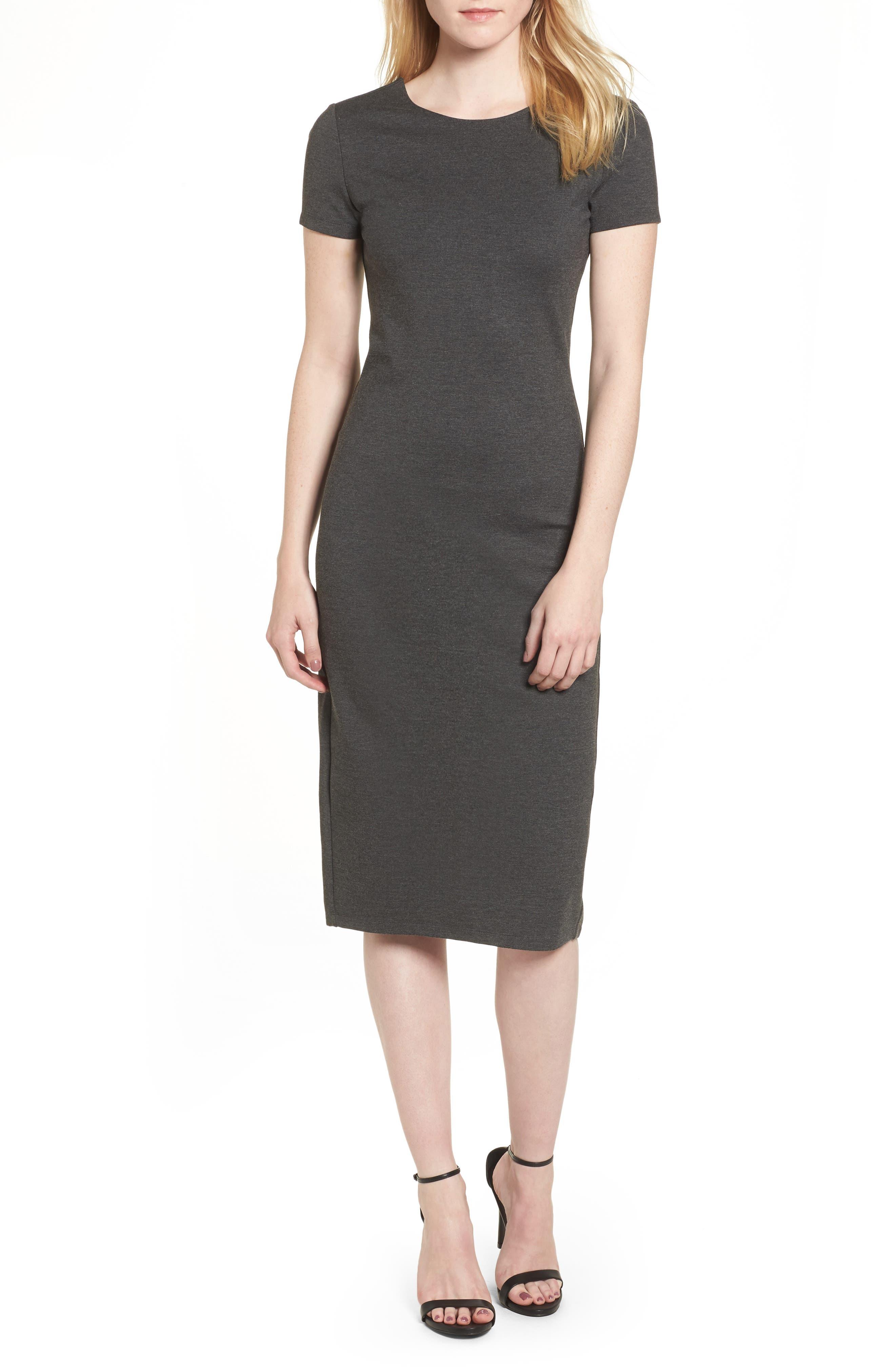 Ponte Sheath Dress,                             Main thumbnail 1, color,                             Charcoal