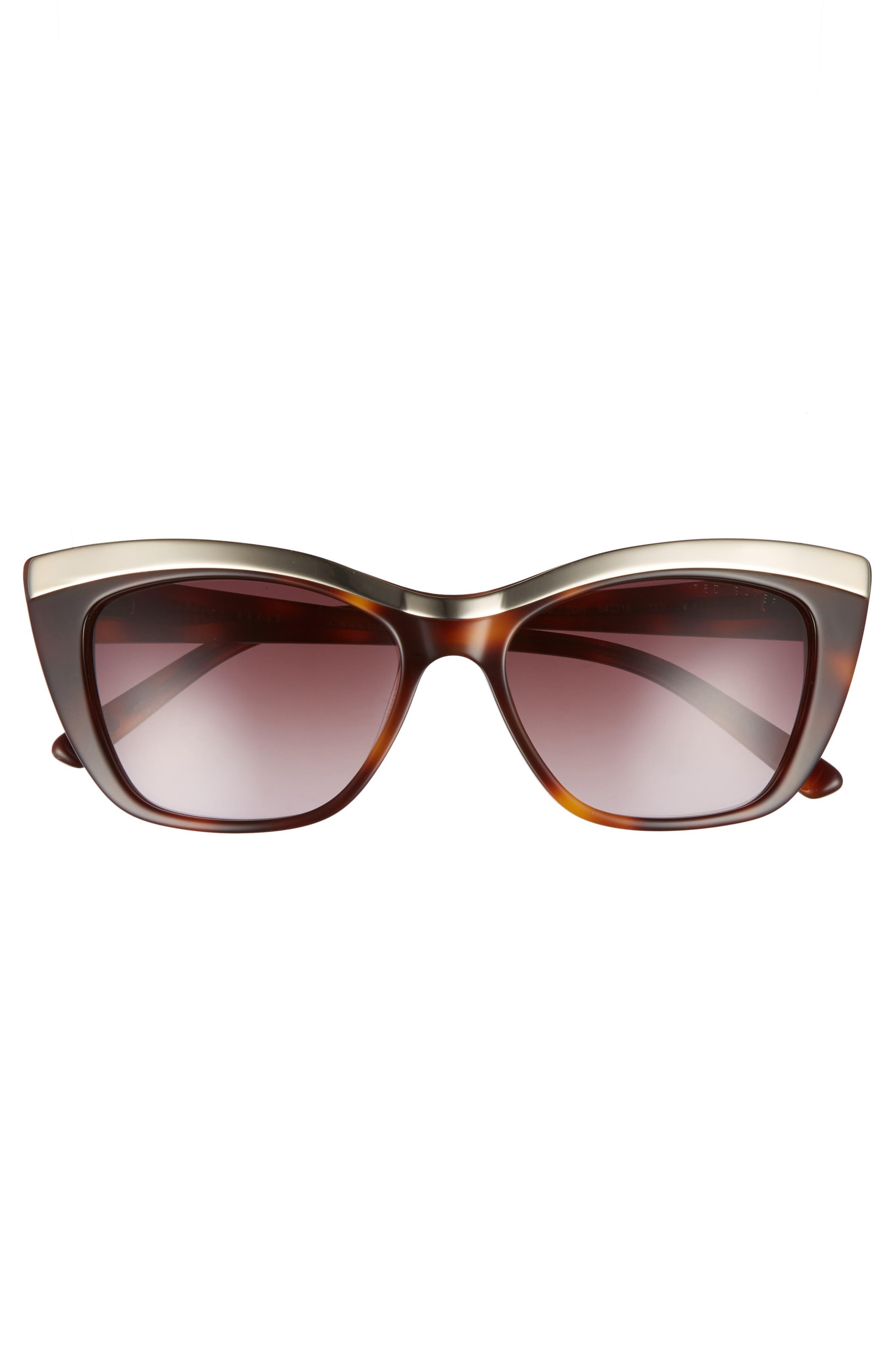 54mm Rectangle Cat Eye Sunglasses,                             Alternate thumbnail 3, color,                             Tortoise