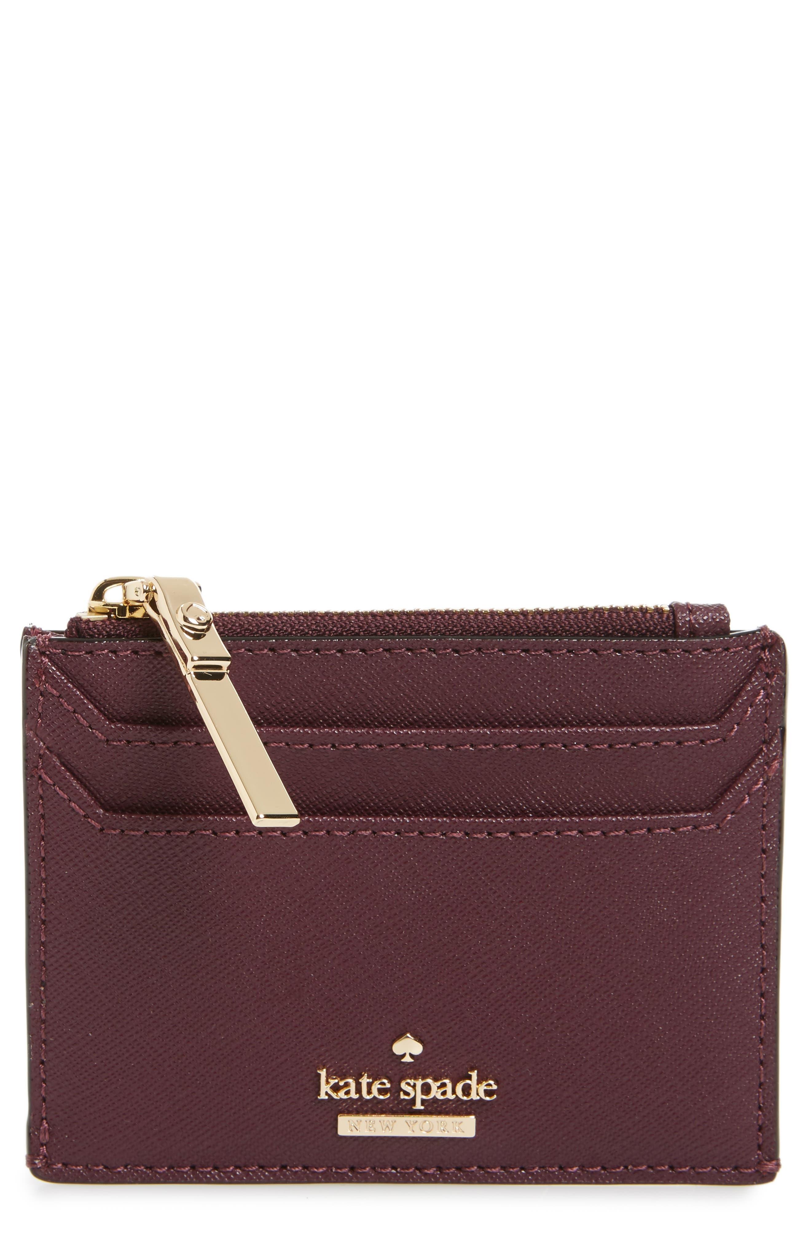 cameron street - lalena leather card case,                         Main,                         color, Deep Plum