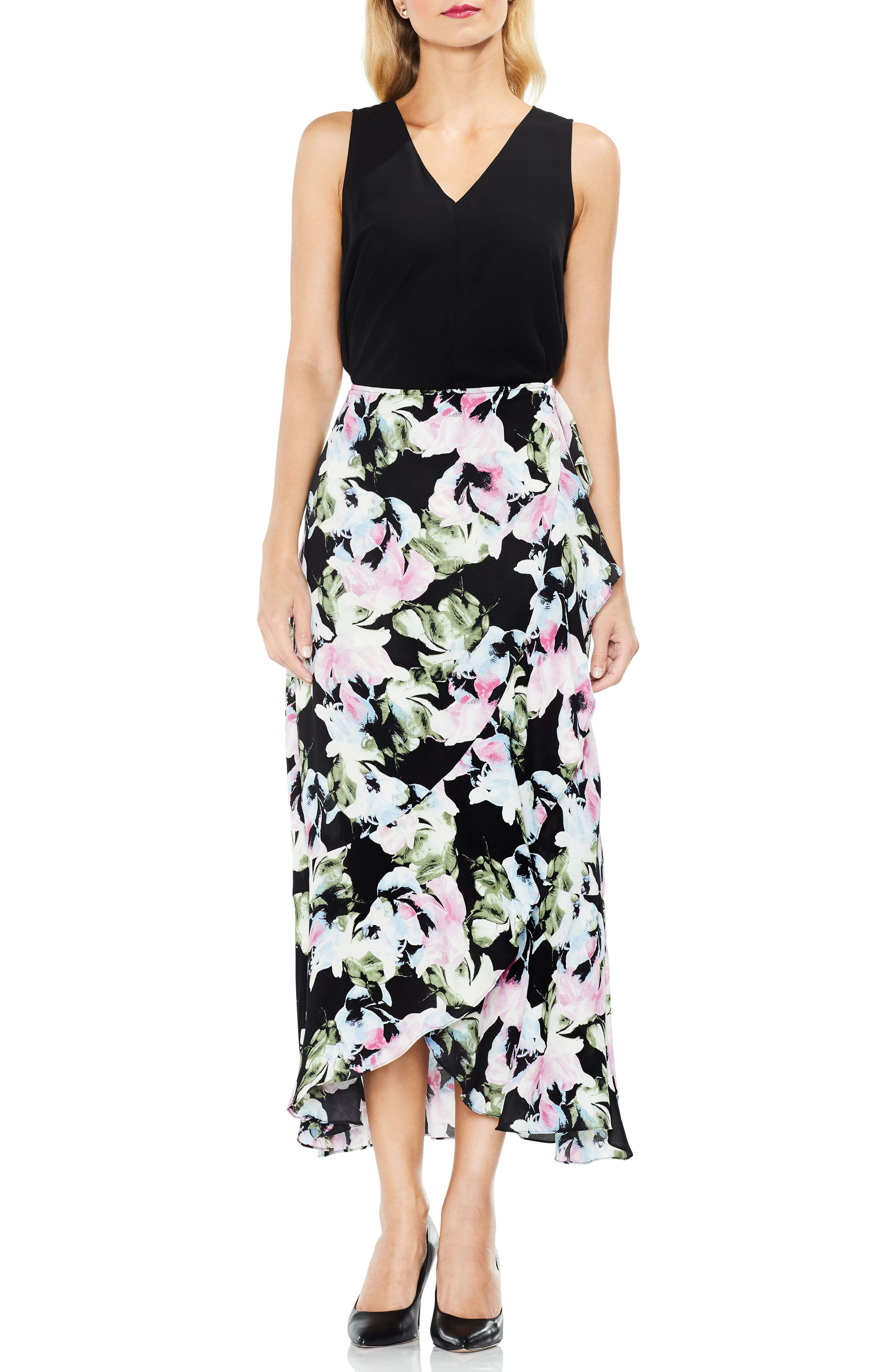 Glacier Floral Ruffle Skirt,                             Alternate thumbnail 3, color,                             Rich Black